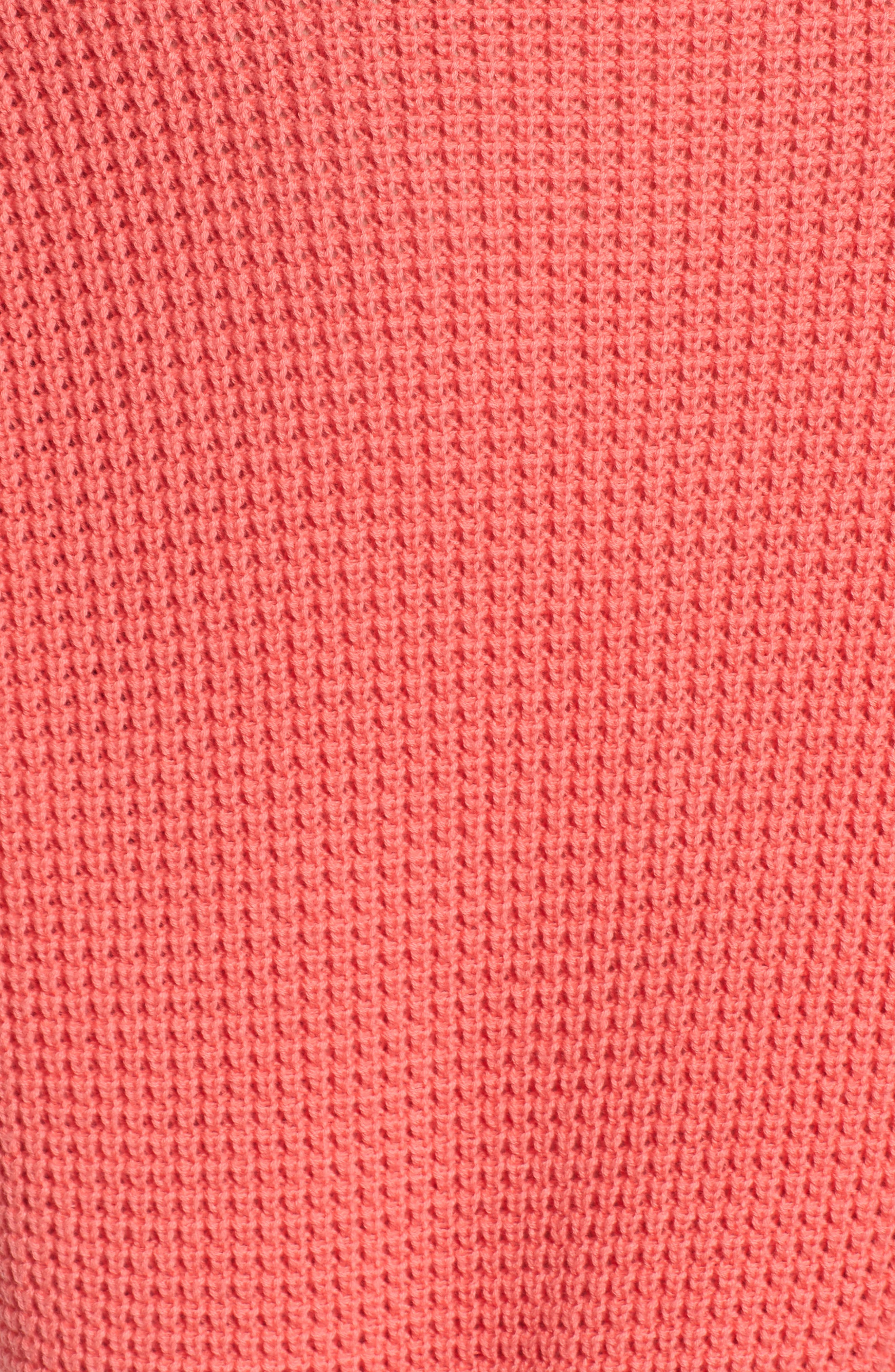 Twist Front Sweater,                             Alternate thumbnail 5, color,                             Coral Sunkist