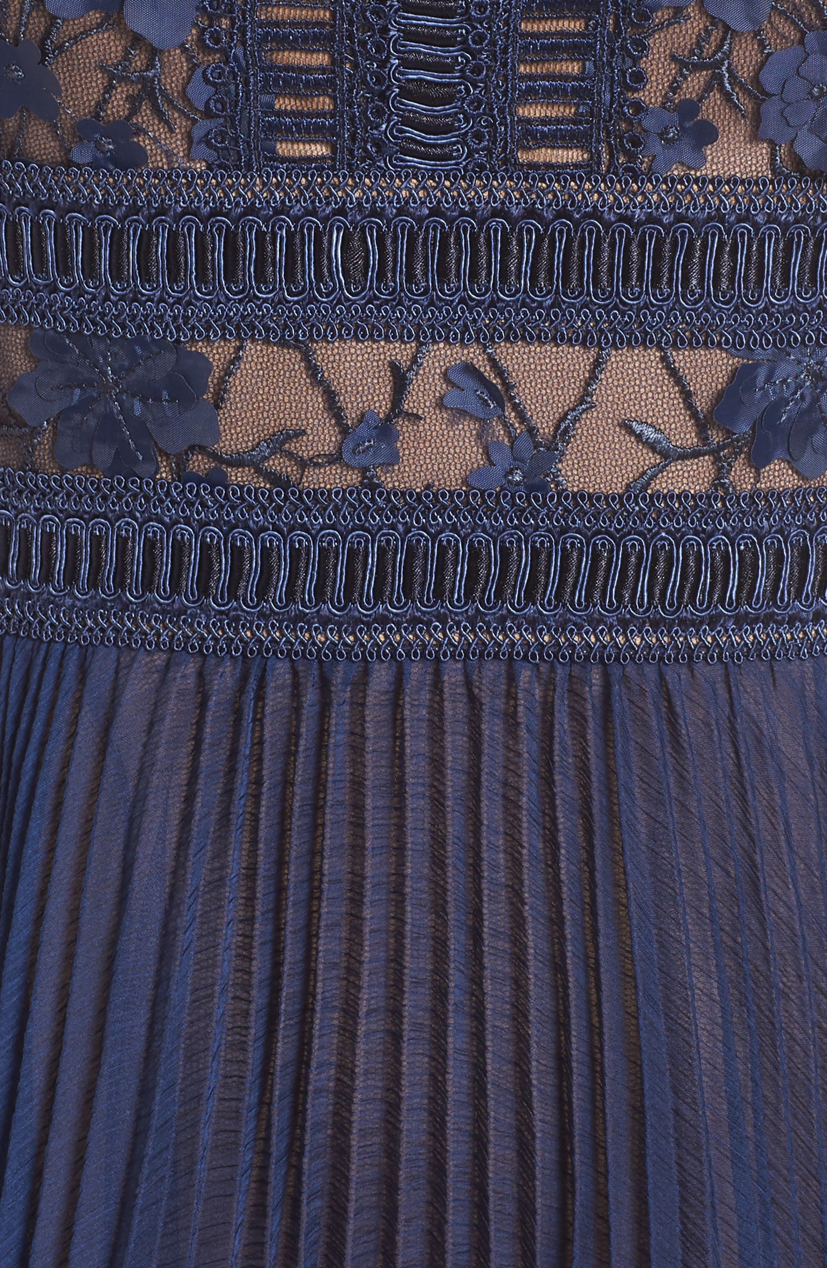 Embroidered Mesh & Chiffon Dress,                             Alternate thumbnail 5, color,                             Midnight/ Nude