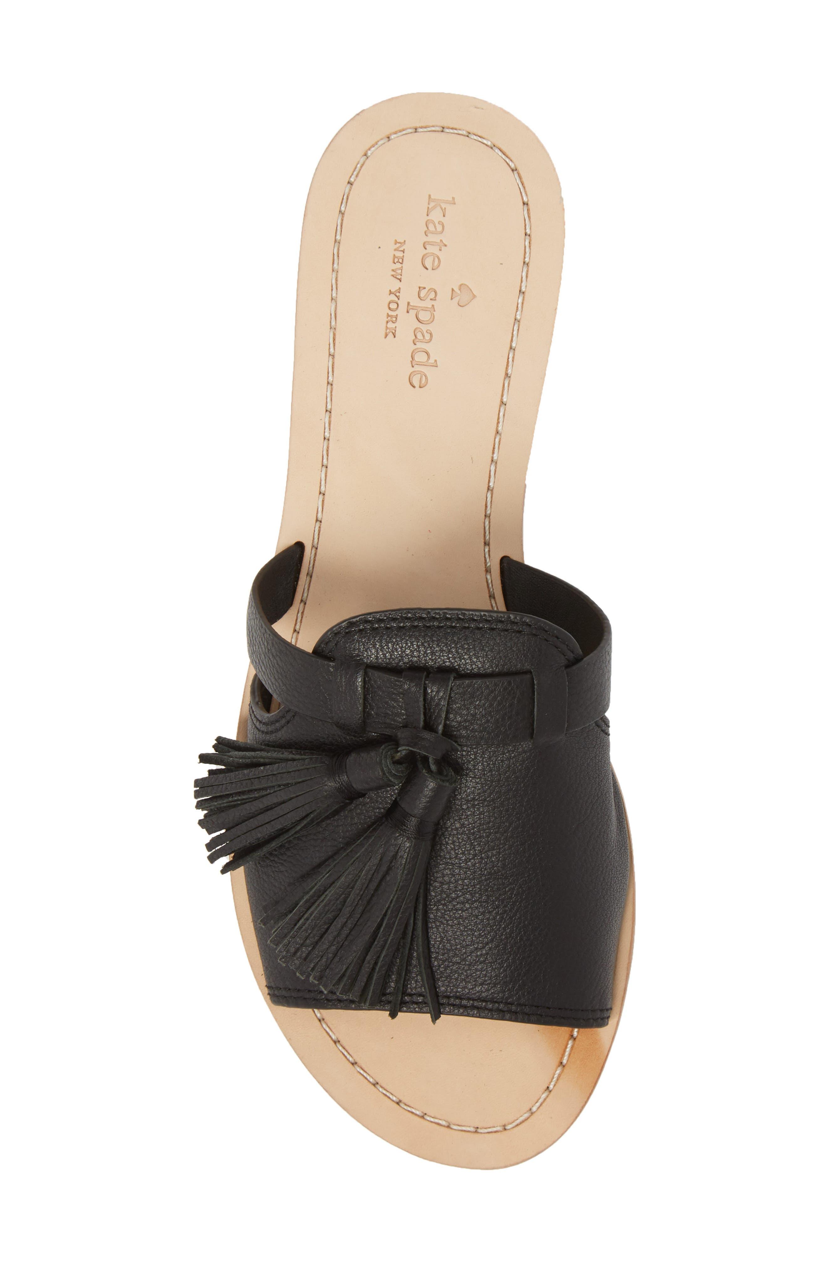 coby tassel slide sandal,                             Alternate thumbnail 5, color,                             Black