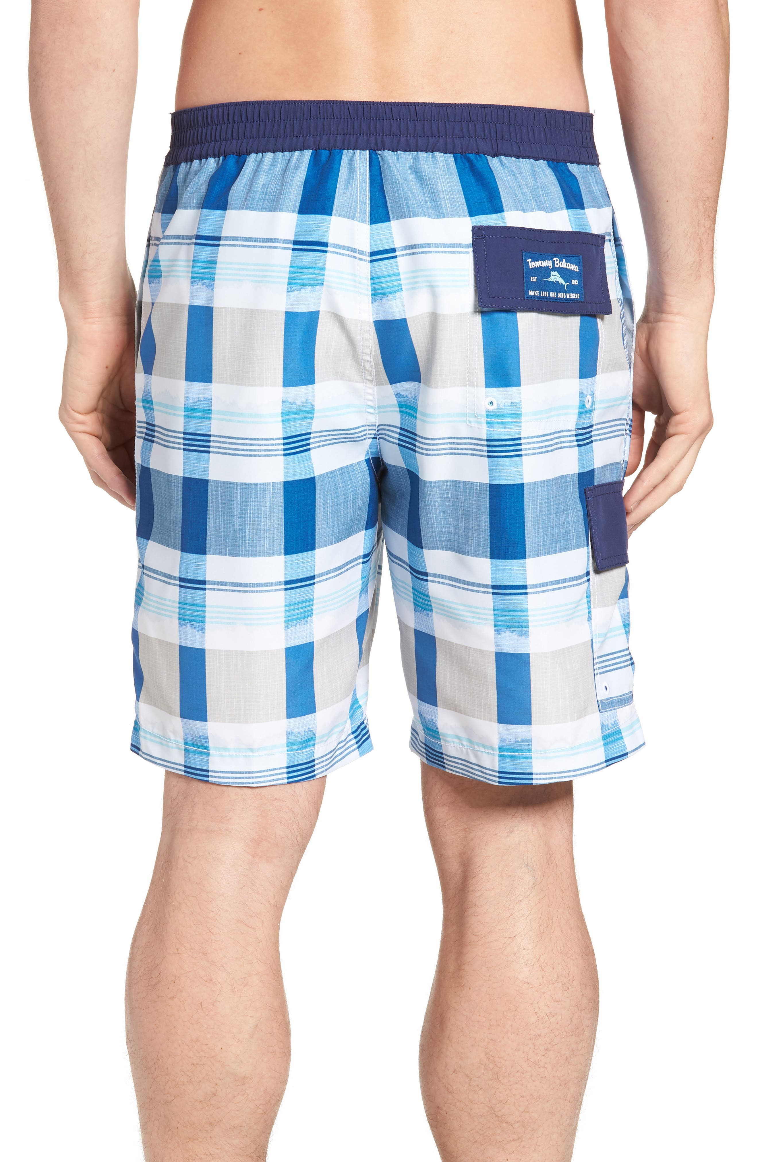 Baja Pomona Plaid Board Shorts,                             Alternate thumbnail 2, color,                             Ocean Deep