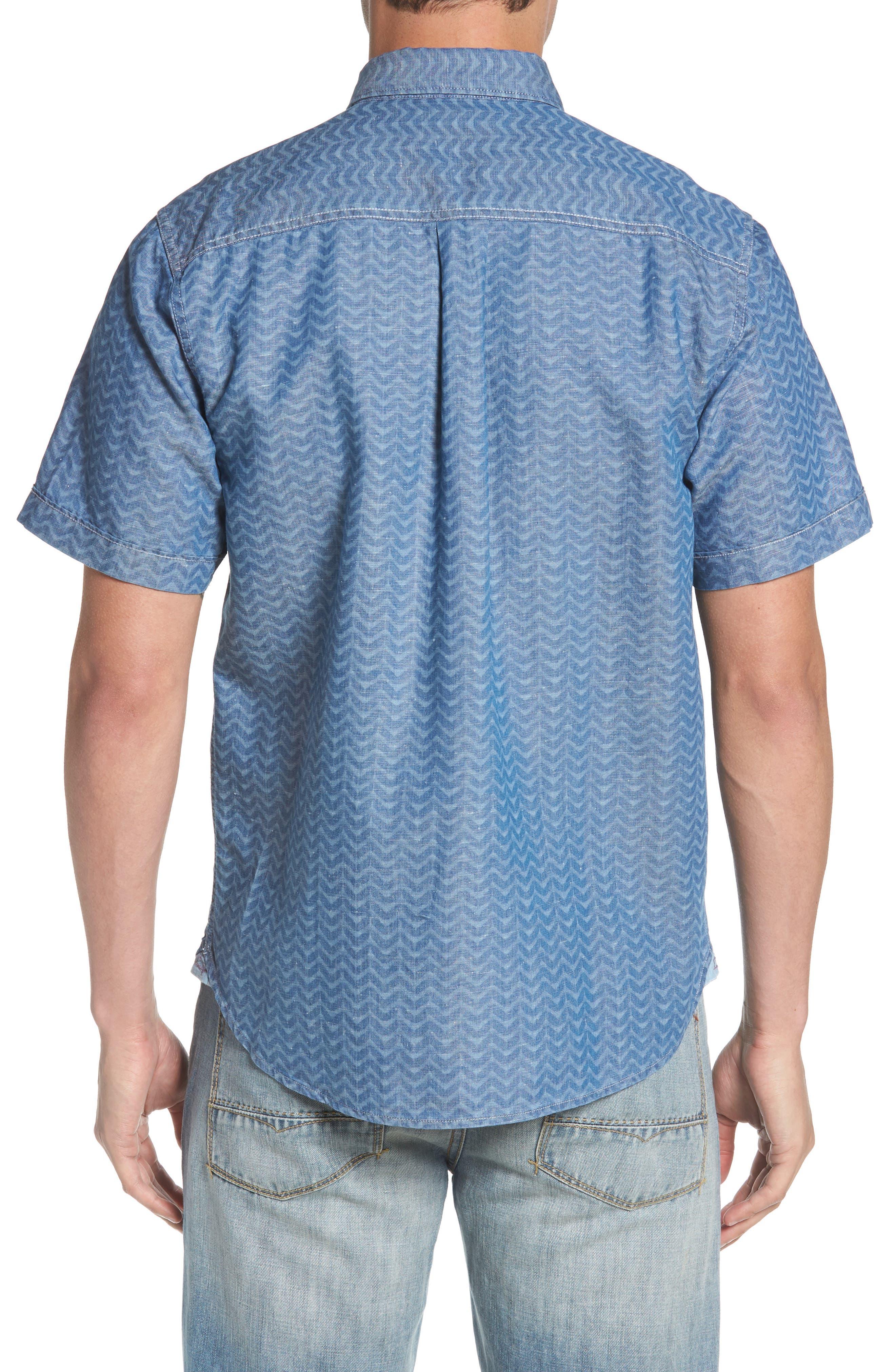 Chevron Cantina Sport Shirt,                             Alternate thumbnail 3, color,                             Light Indigo