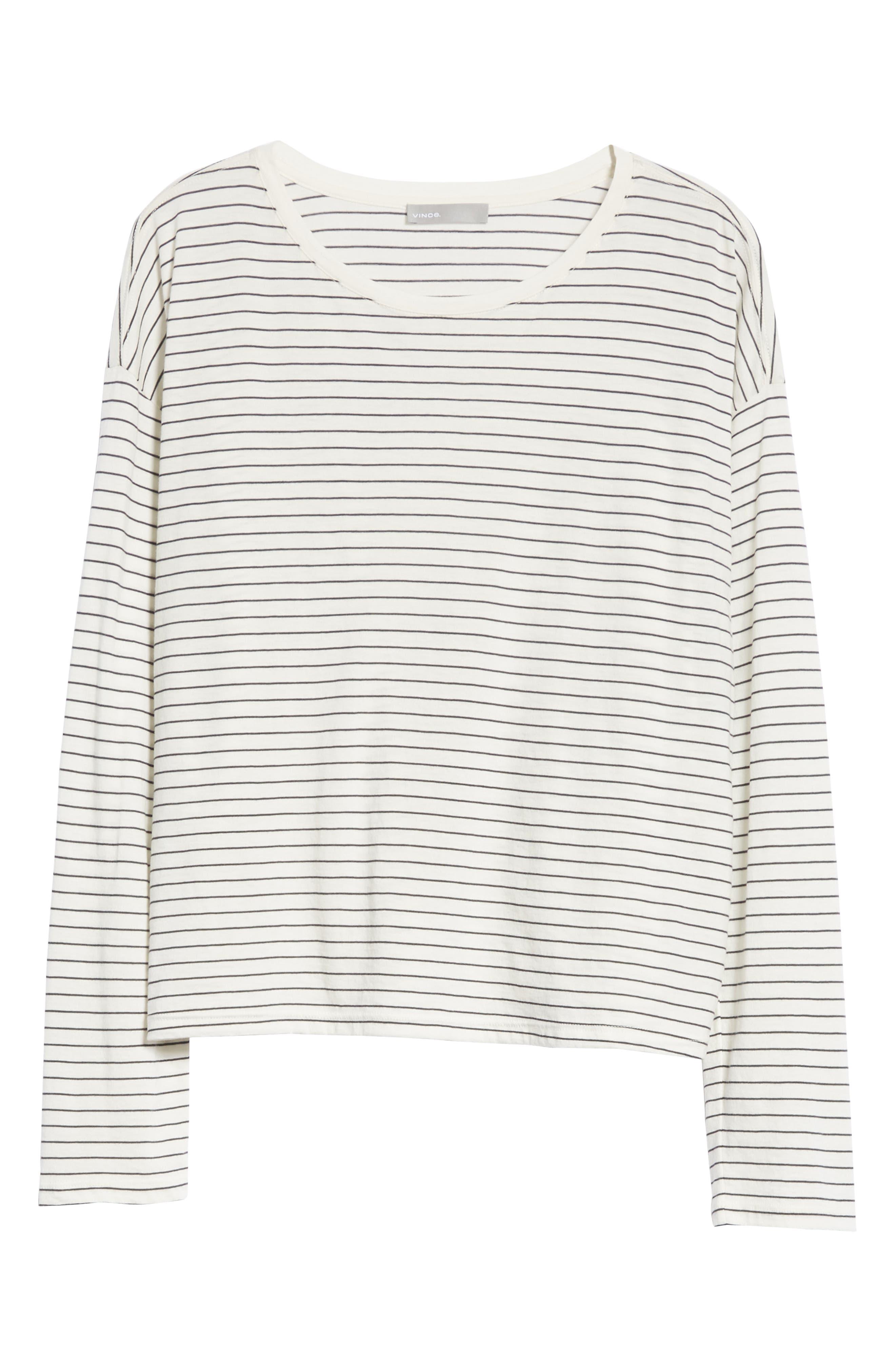 Pencil Stripe Pima Cotton Pullover Top,                             Alternate thumbnail 6, color,                             Vanilla/ Iron