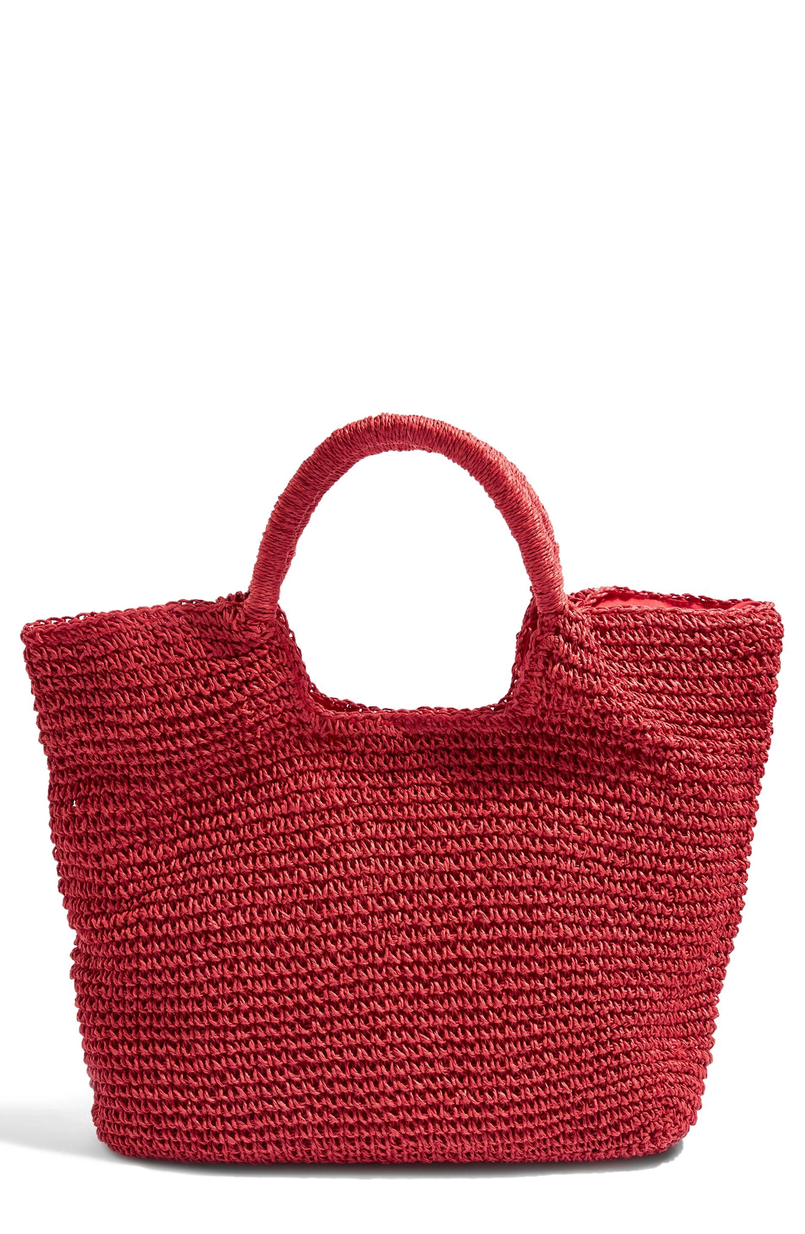 Brighty Straw Tote Bag,                             Main thumbnail 1, color,                             Red