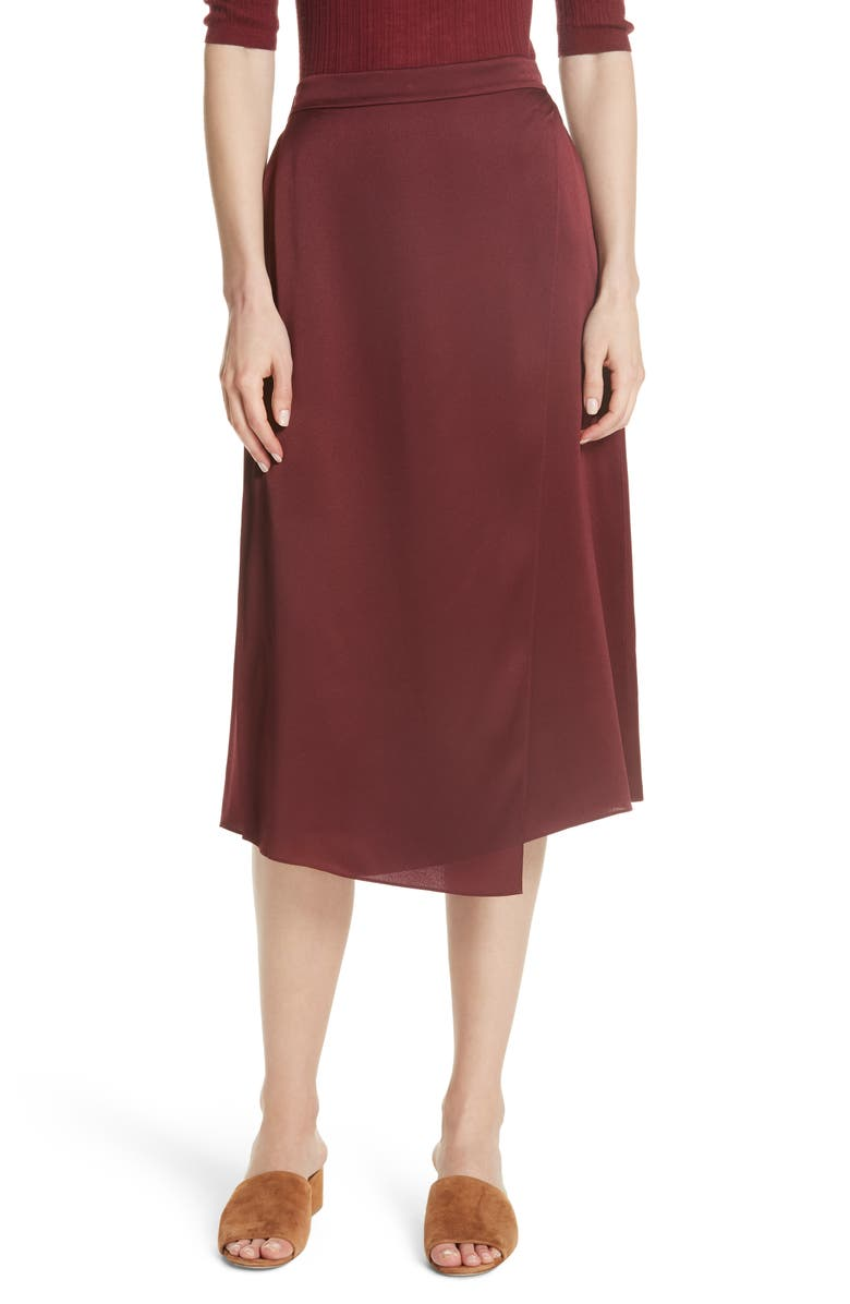 Drape Panel Silk Skirt