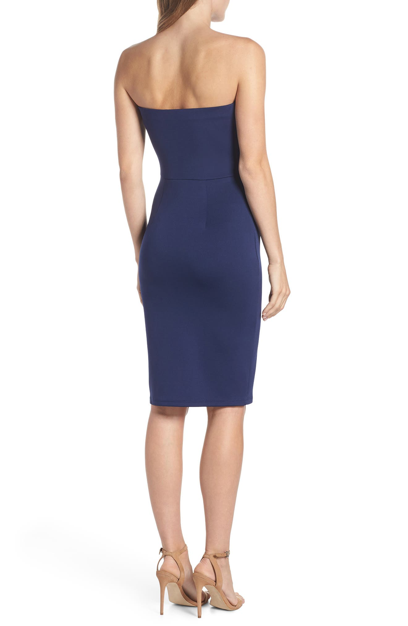 Strapless Tie Front Sheath Dress,                             Alternate thumbnail 2, color,                             Navy