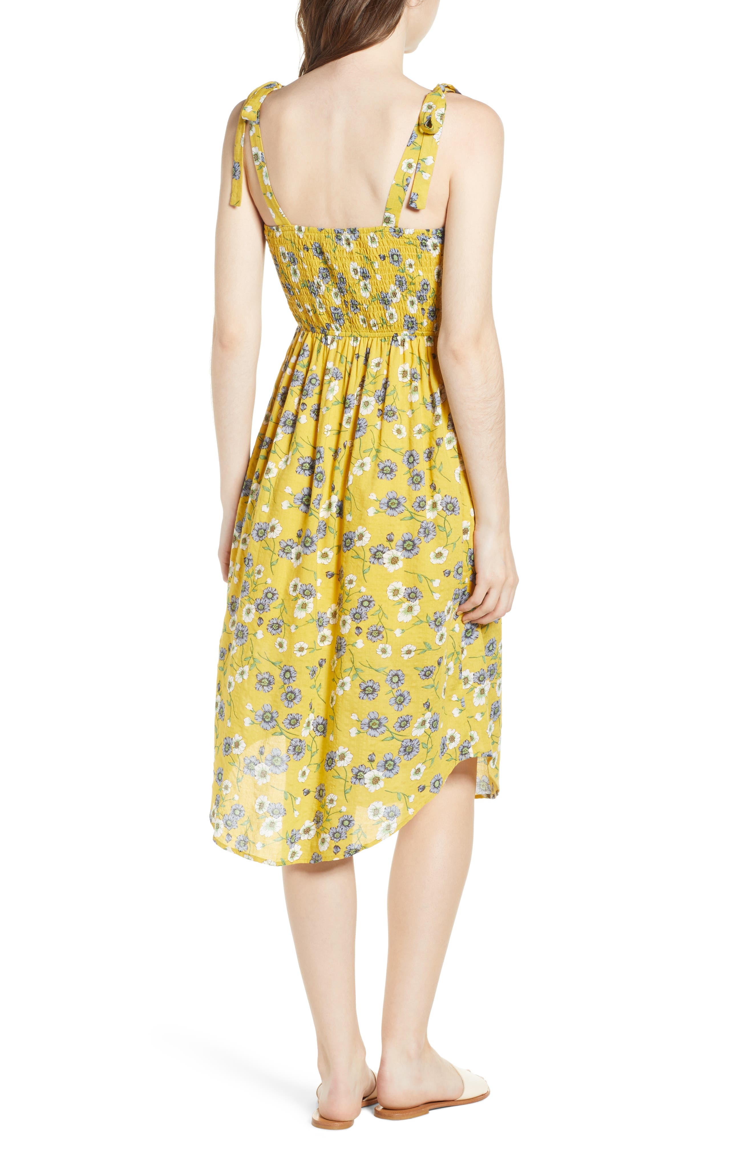 Floral Button Front Sundress,                             Alternate thumbnail 3, color,                             Yellow Floral