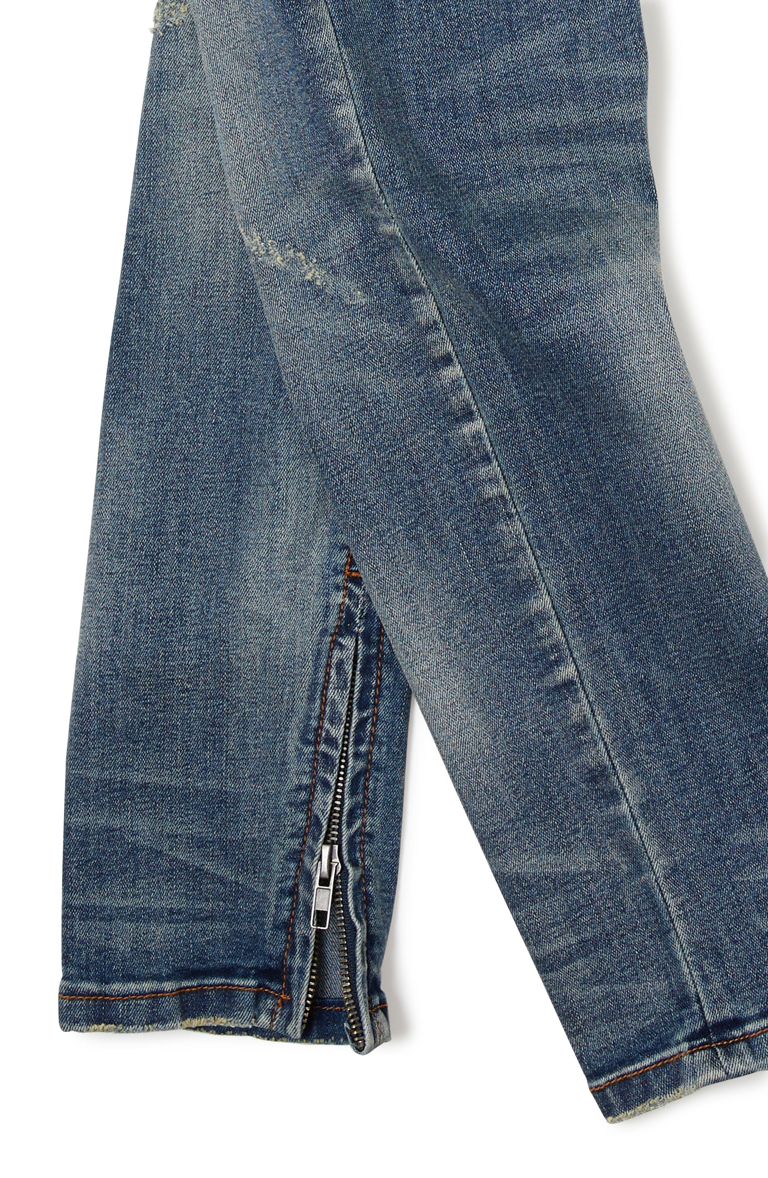Sand Blasted Moto Skinny Jeans Big Boys),                             Alternate thumbnail 3, color,                             Dark Wash Denim