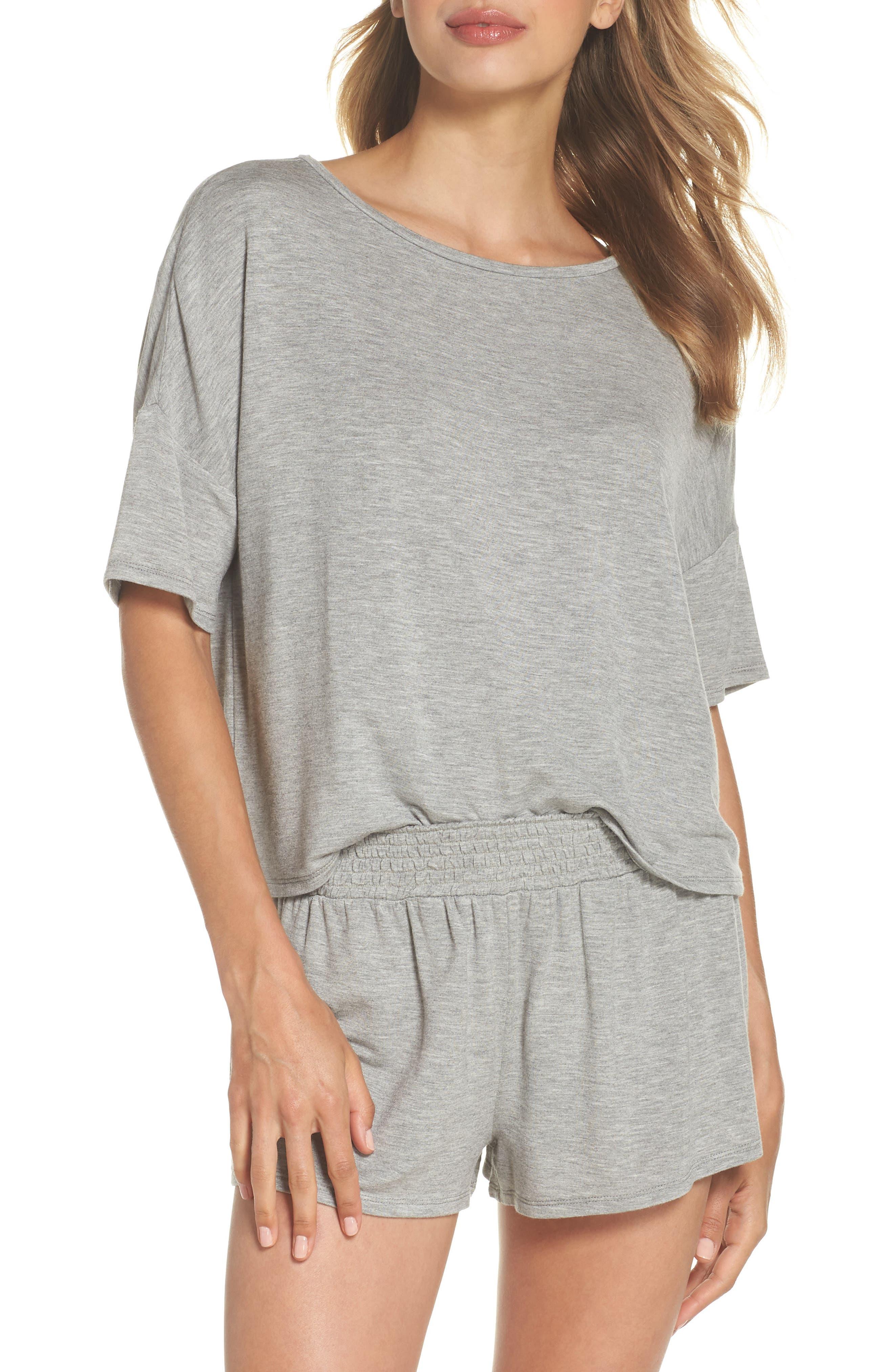 Short Pajamas,                         Main,                         color, Heather Grey