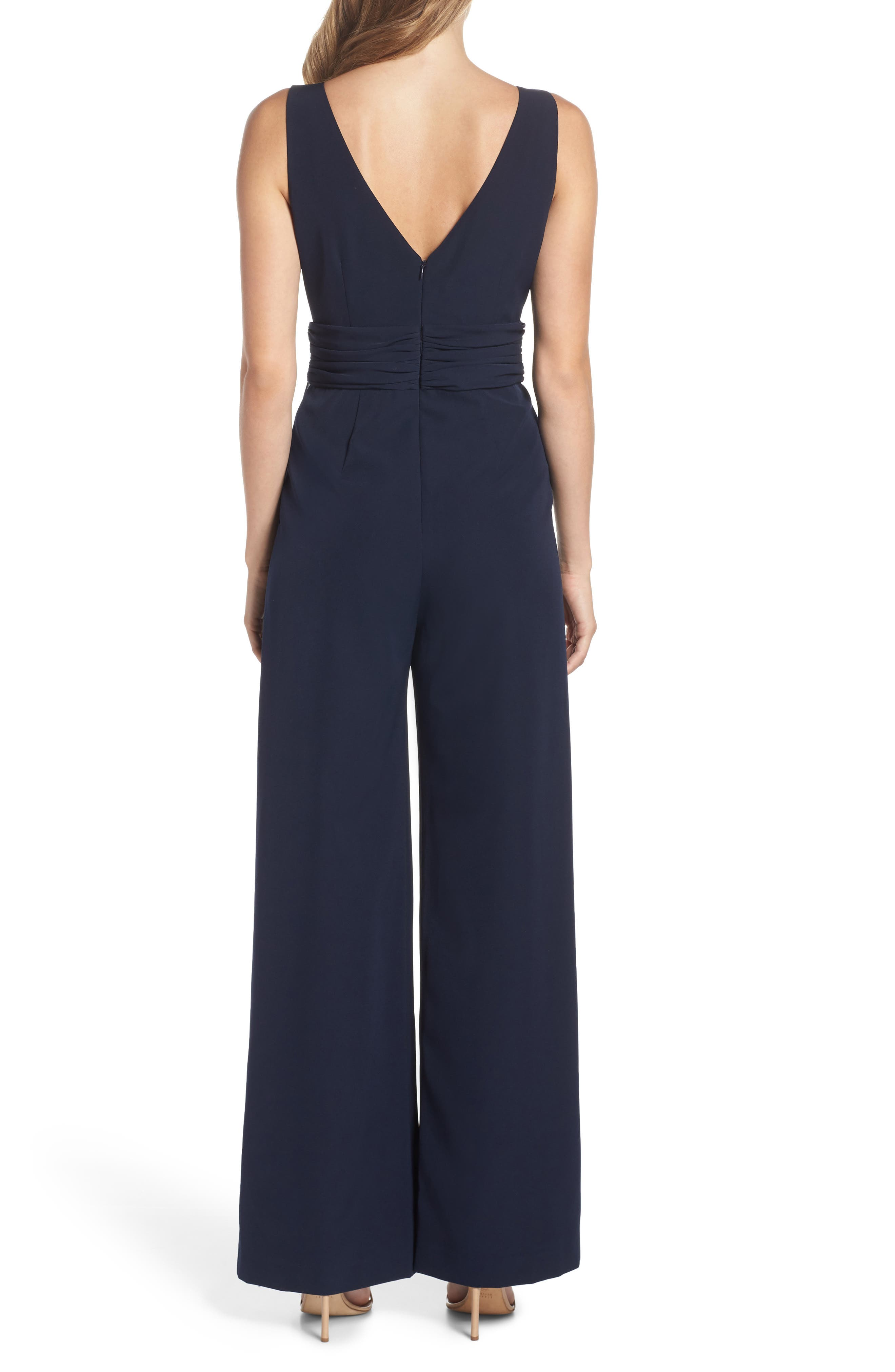 Cascading Tie Jumpsuit,                             Alternate thumbnail 2, color,                             Navy