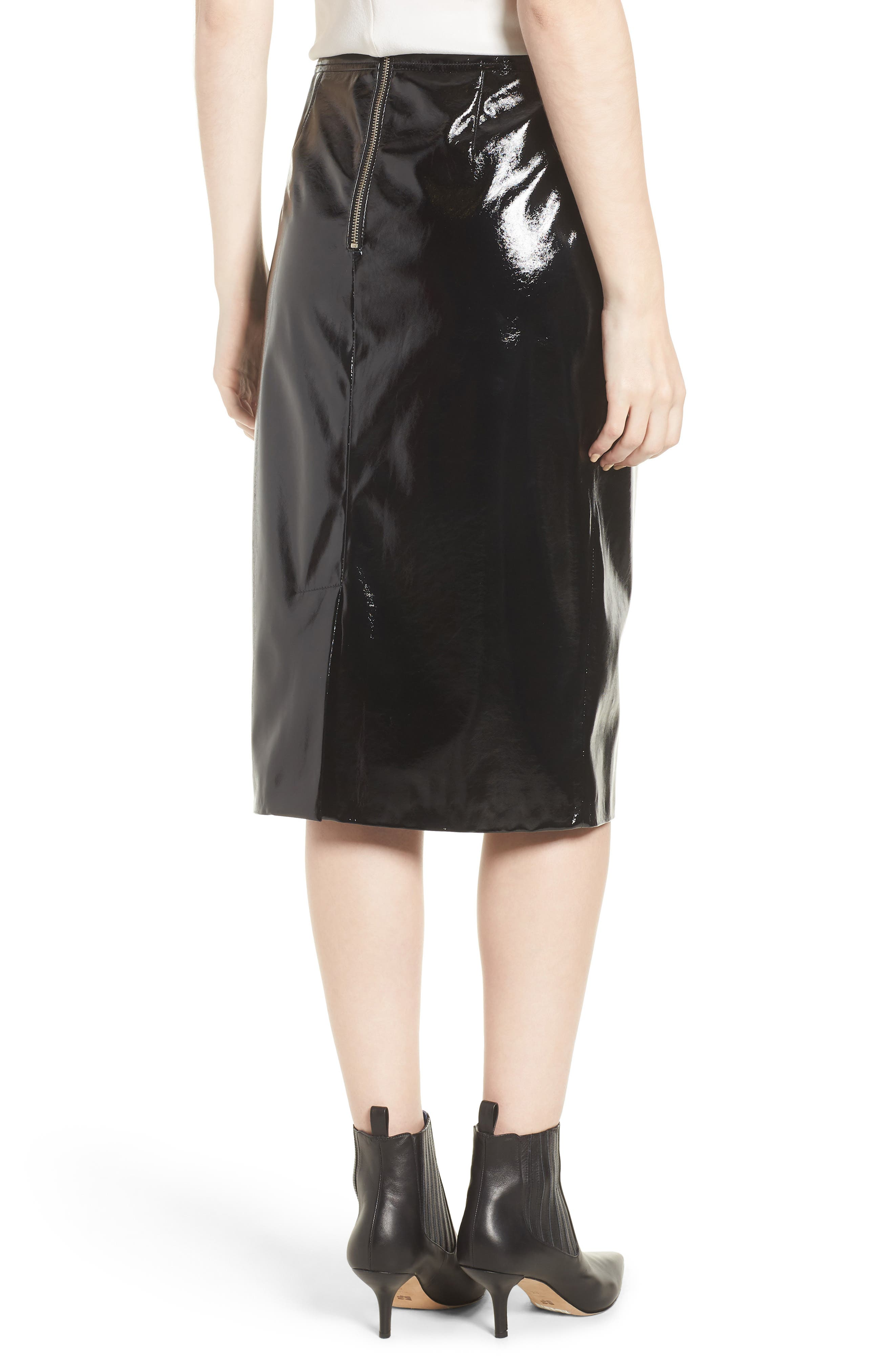 Patent Pencil Skirt,                             Alternate thumbnail 2, color,                             Black