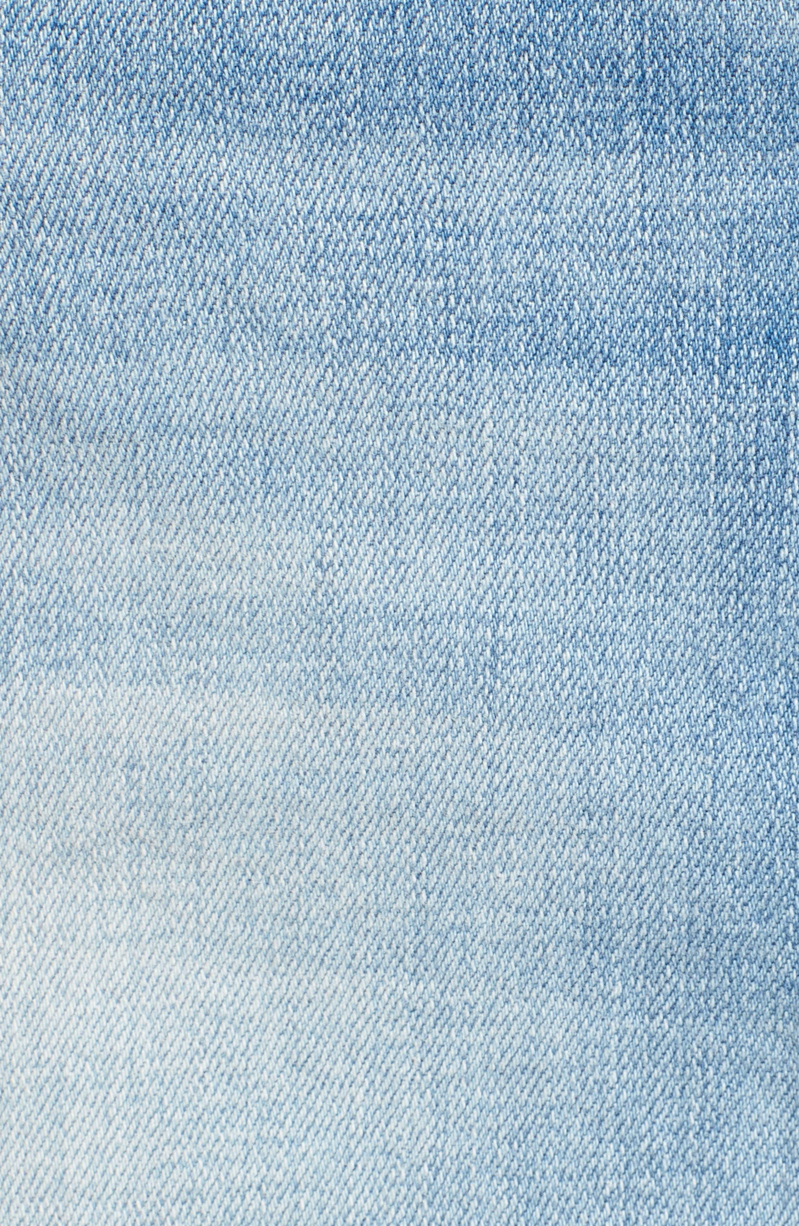 Izabel Angled Hem Denim Skirt,                             Alternate thumbnail 6, color,                             Dont Fade Away