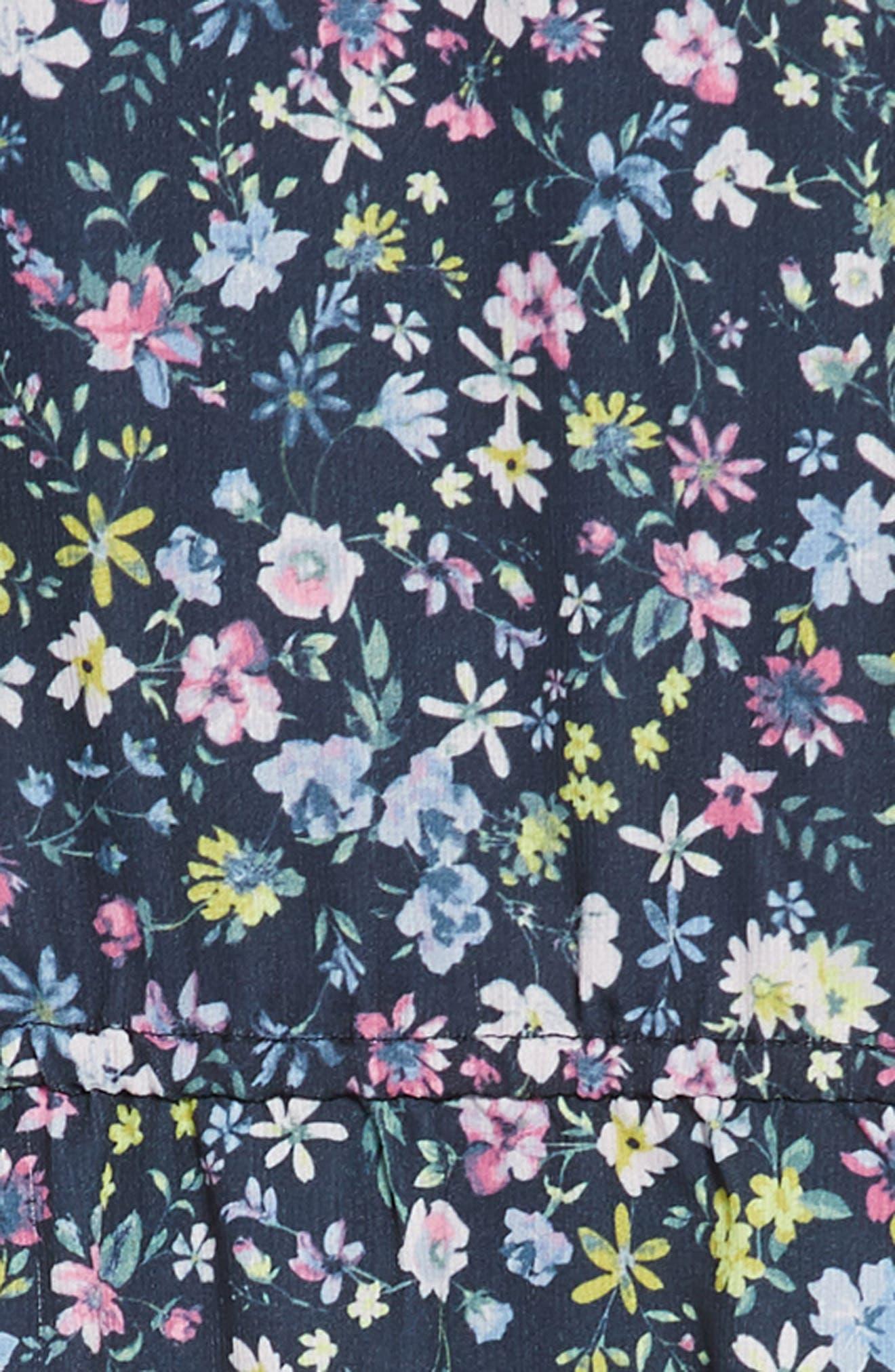 Ruffle Sleeve Floral Print Dress,                             Alternate thumbnail 2, color,                             Navy