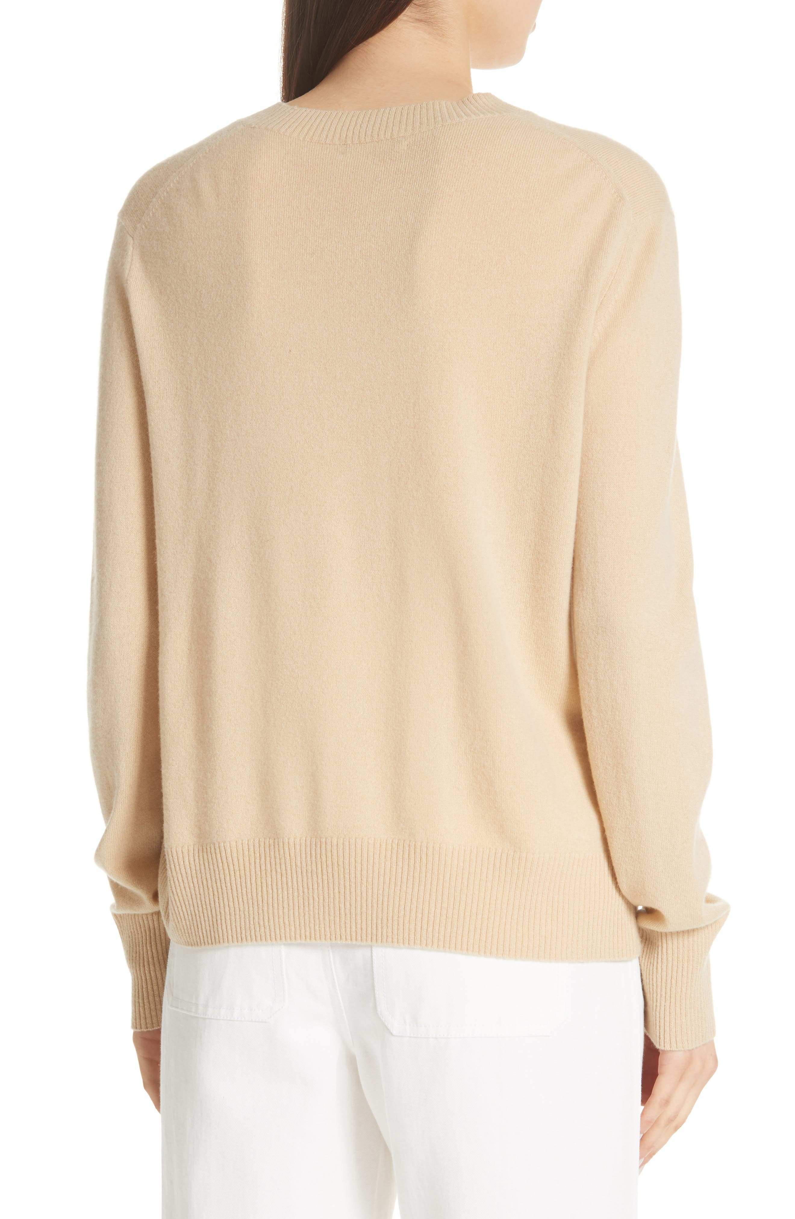 Side Cinch Cashmere Crewneck Sweater,                             Alternate thumbnail 2, color,                             Sawdust