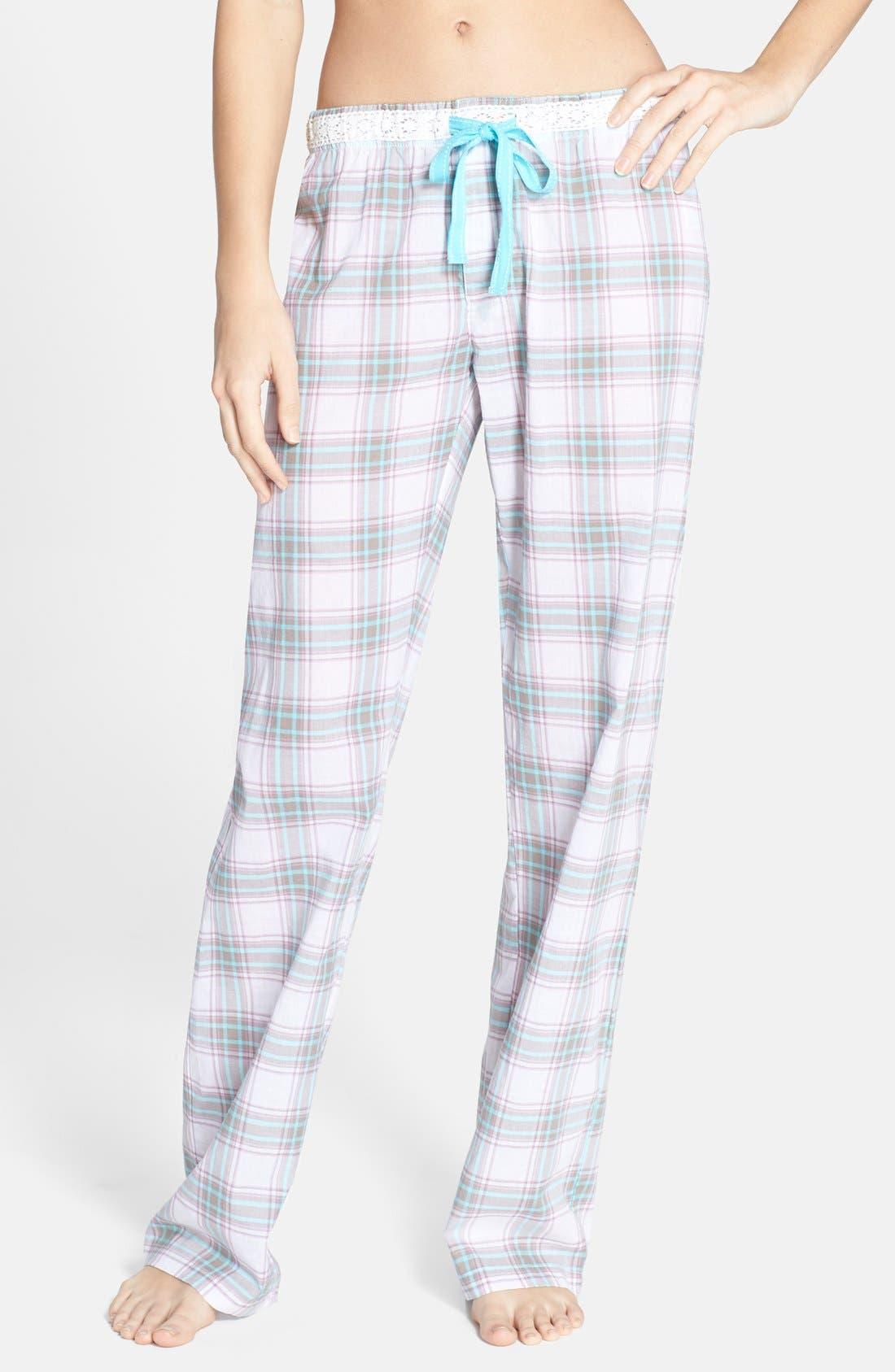 Main Image - PJ Salvage Plaid Cotton Voile Pajama Pants