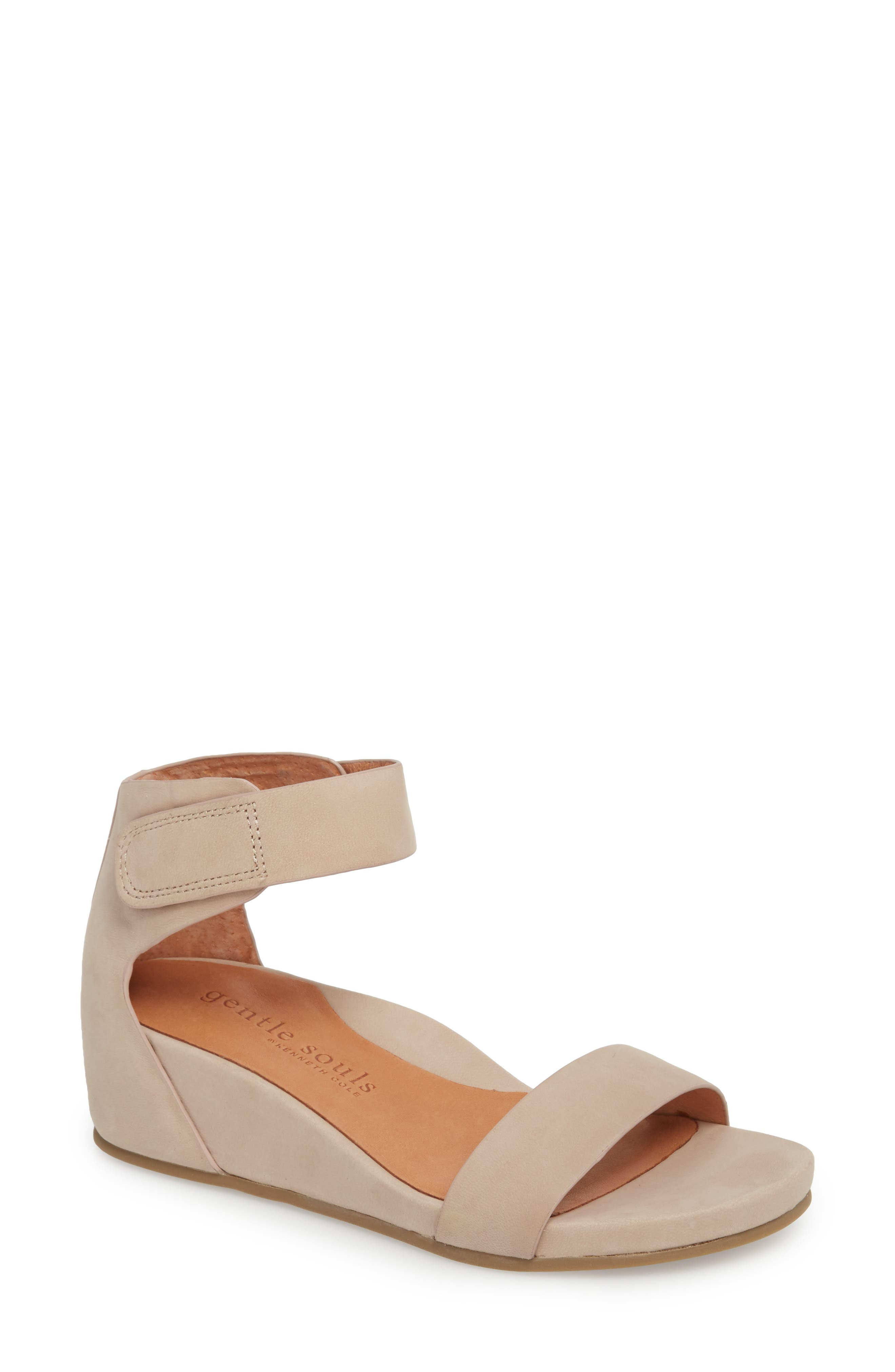 by Kenneth Cole Gianna Wedge Sandal,                             Main thumbnail 1, color,                             Mushroom Nubuck