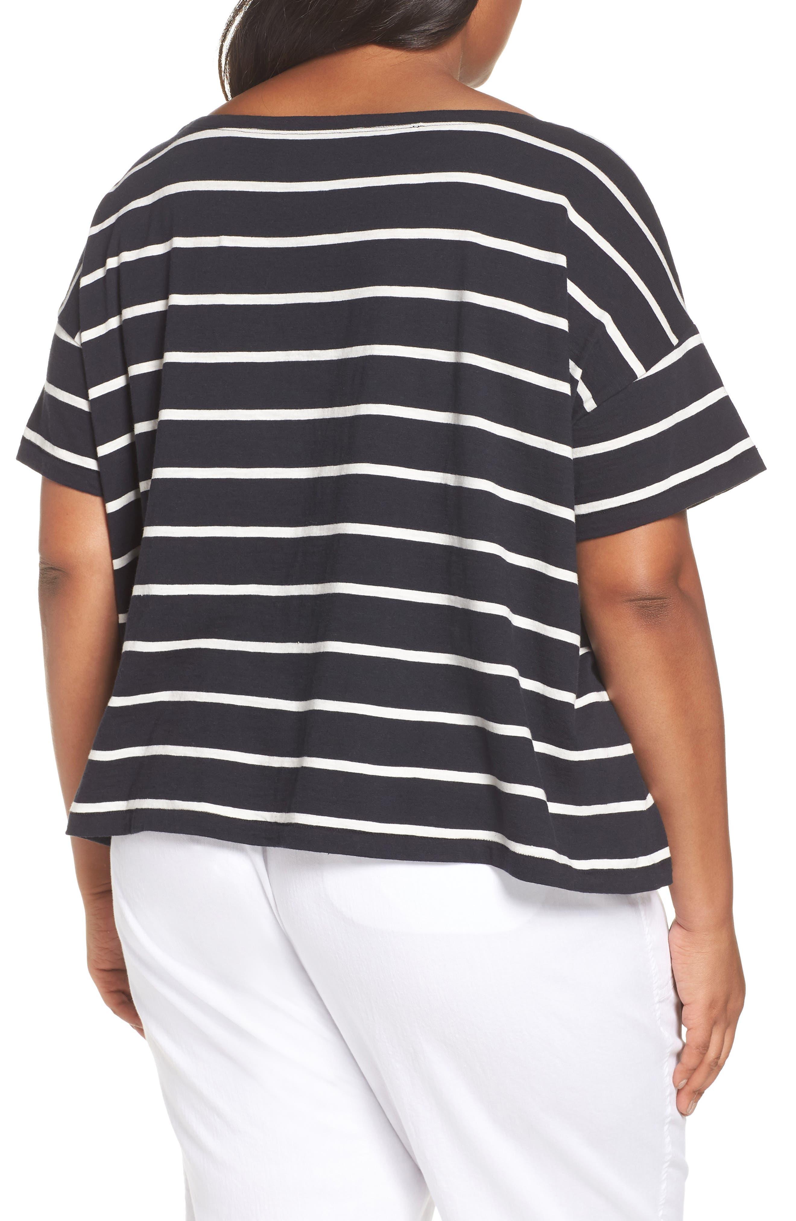 Stripe Organic Cotton Top,                             Alternate thumbnail 2, color,                             Black/ White