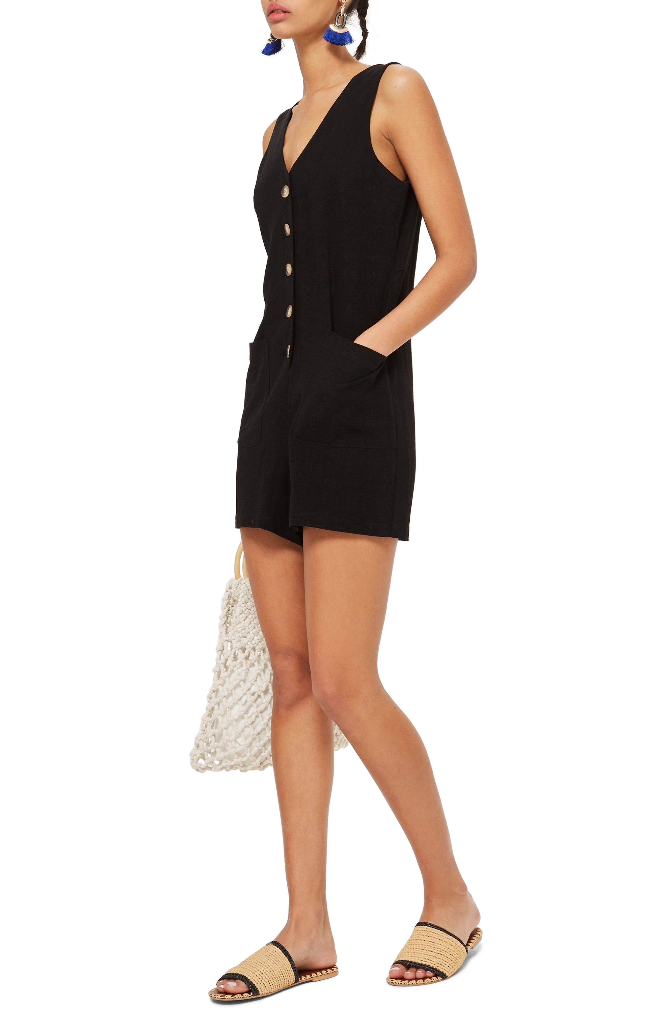 Sleeveless Button Romper,                         Main,                         color, Black