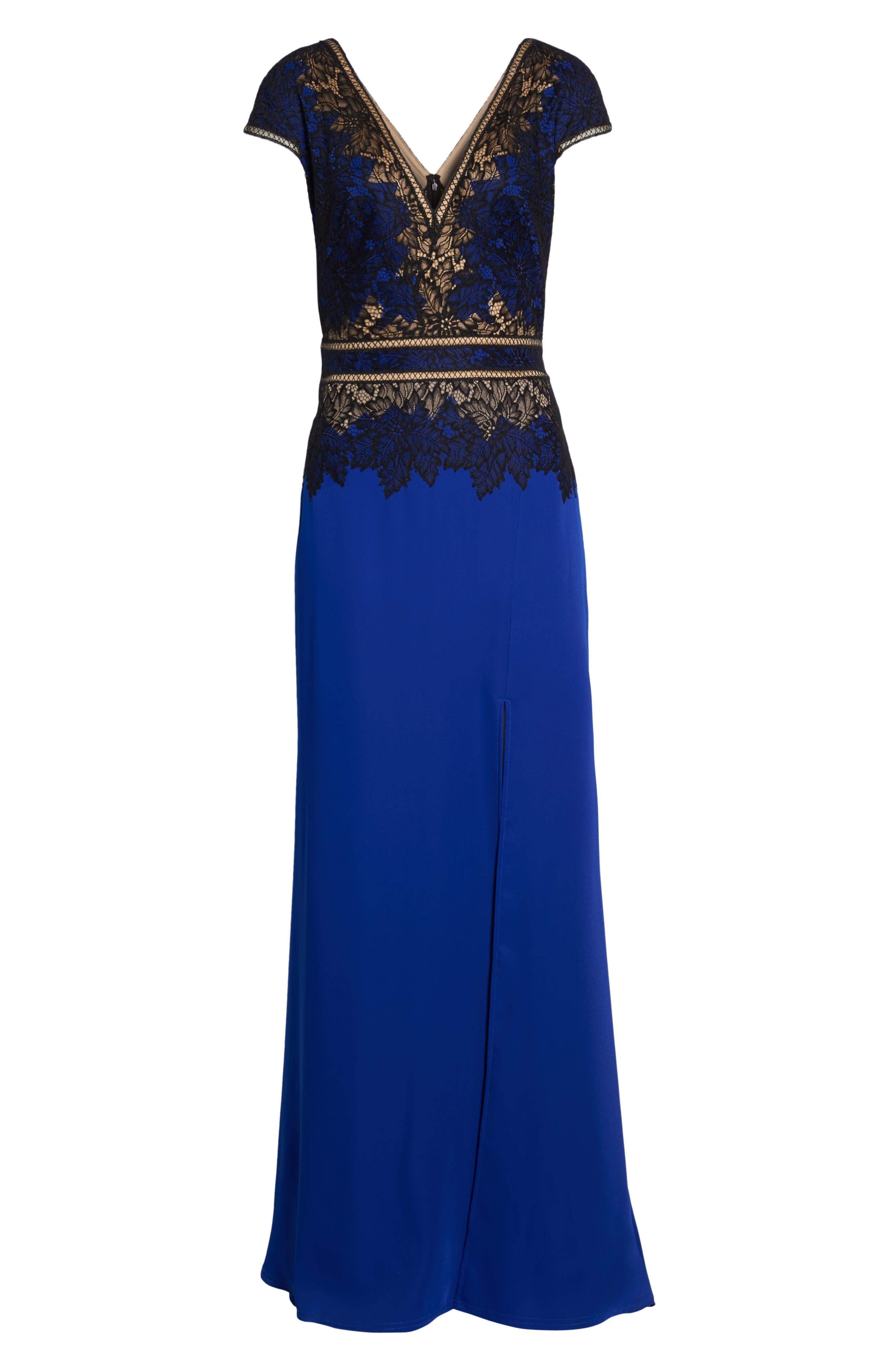 Violette Lace & Crepe Gown,                             Alternate thumbnail 6, color,                             Black Lake