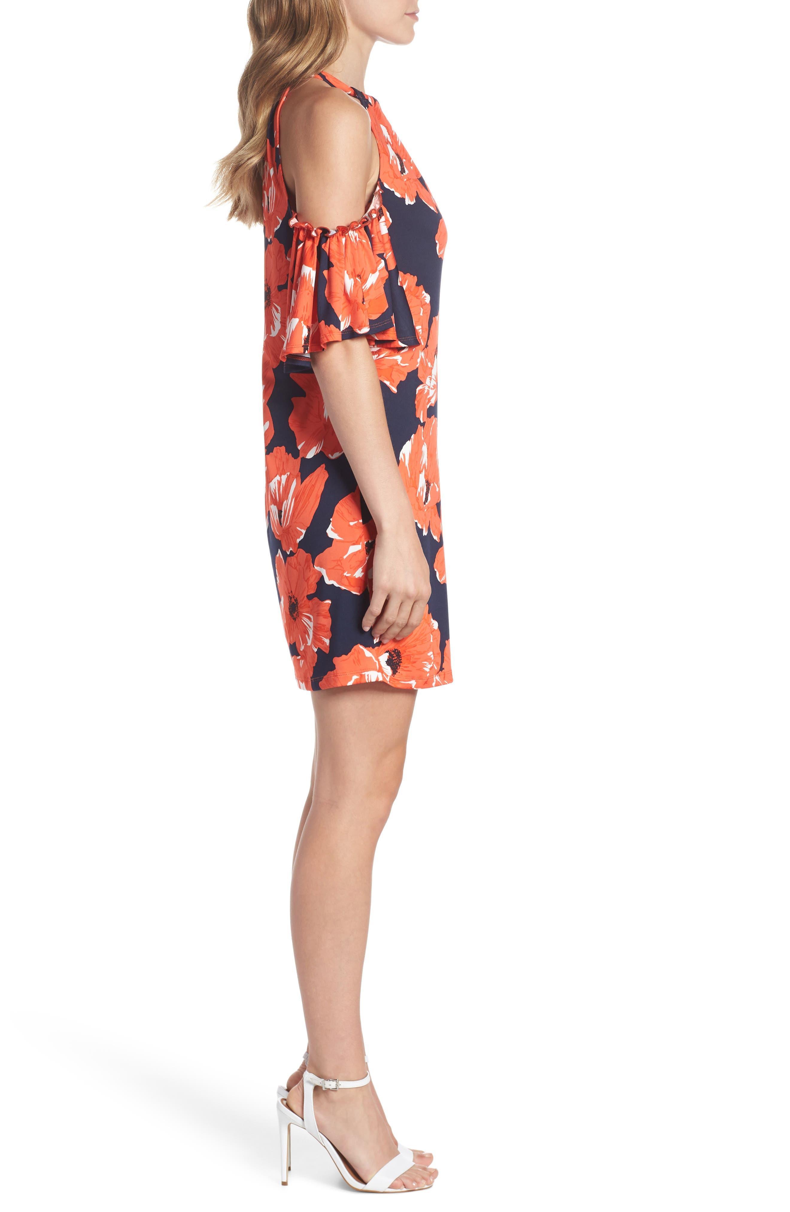 Lexi Poppy Cold Shoulder Shift Dress,                             Alternate thumbnail 3, color,                             Indigo/ Red Ginger