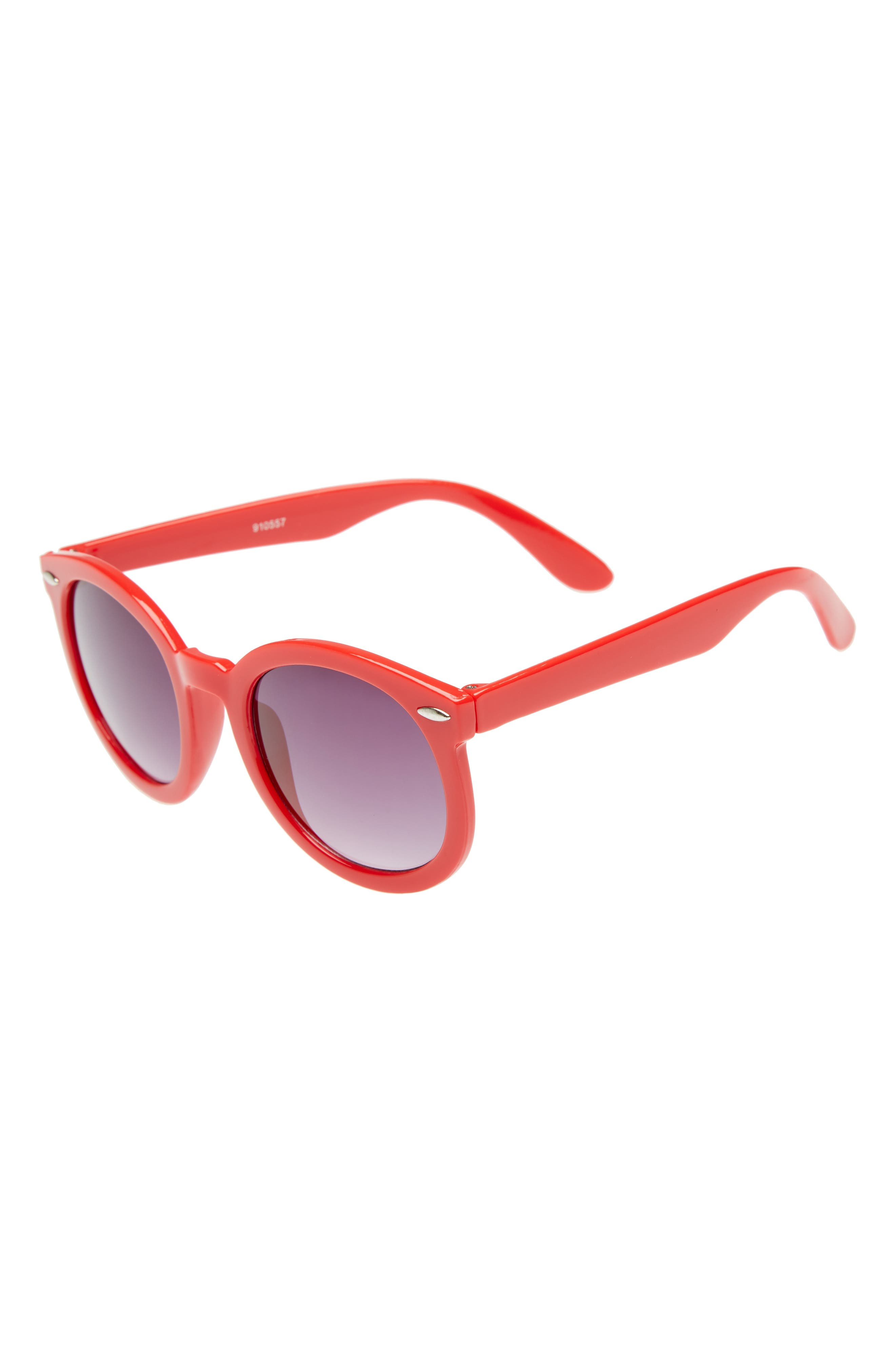 Round Sunglasses,                             Main thumbnail 1, color,                             Red