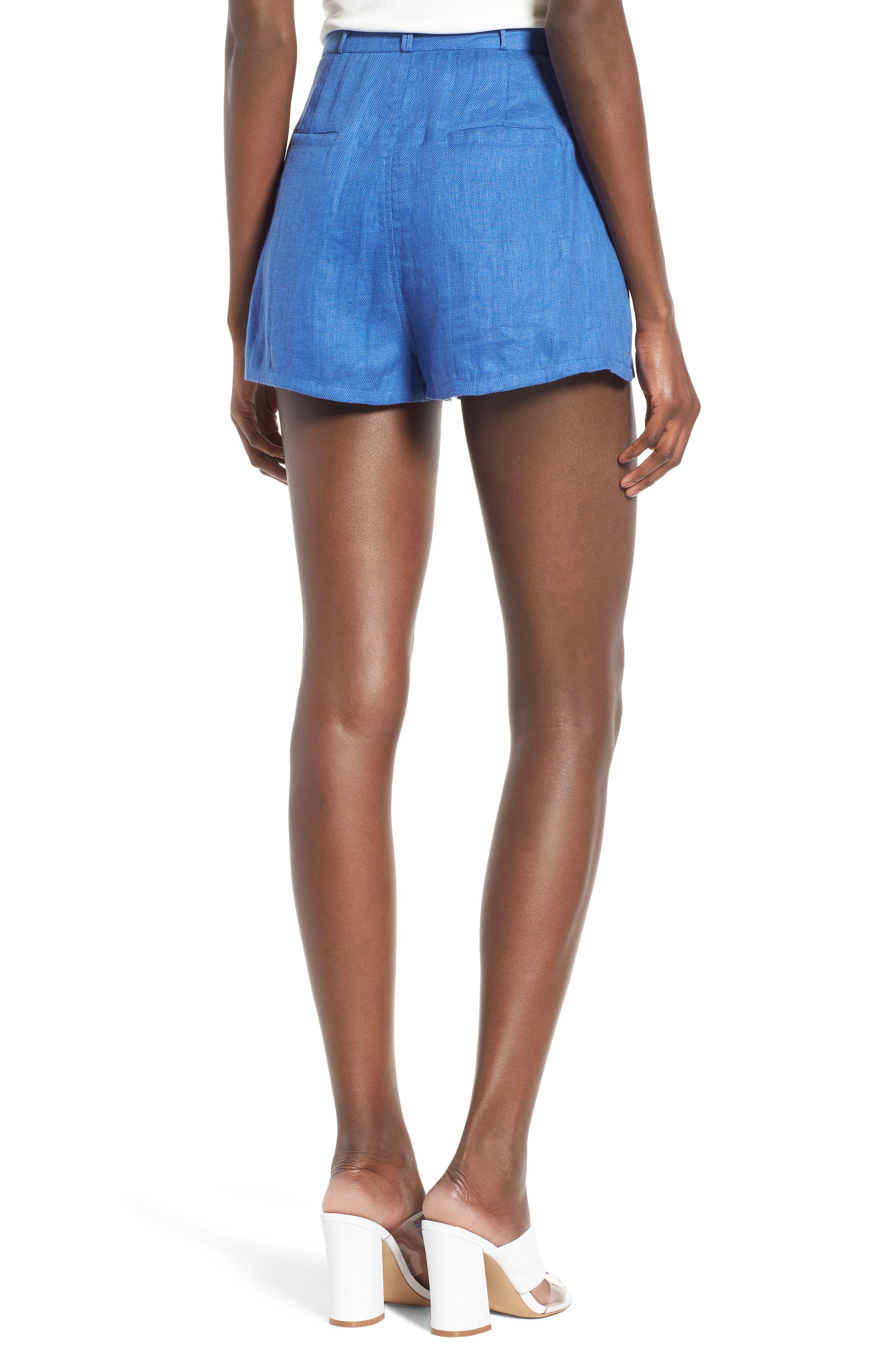 Jordy High Waist Shorts,                             Alternate thumbnail 3, color,                             Blue