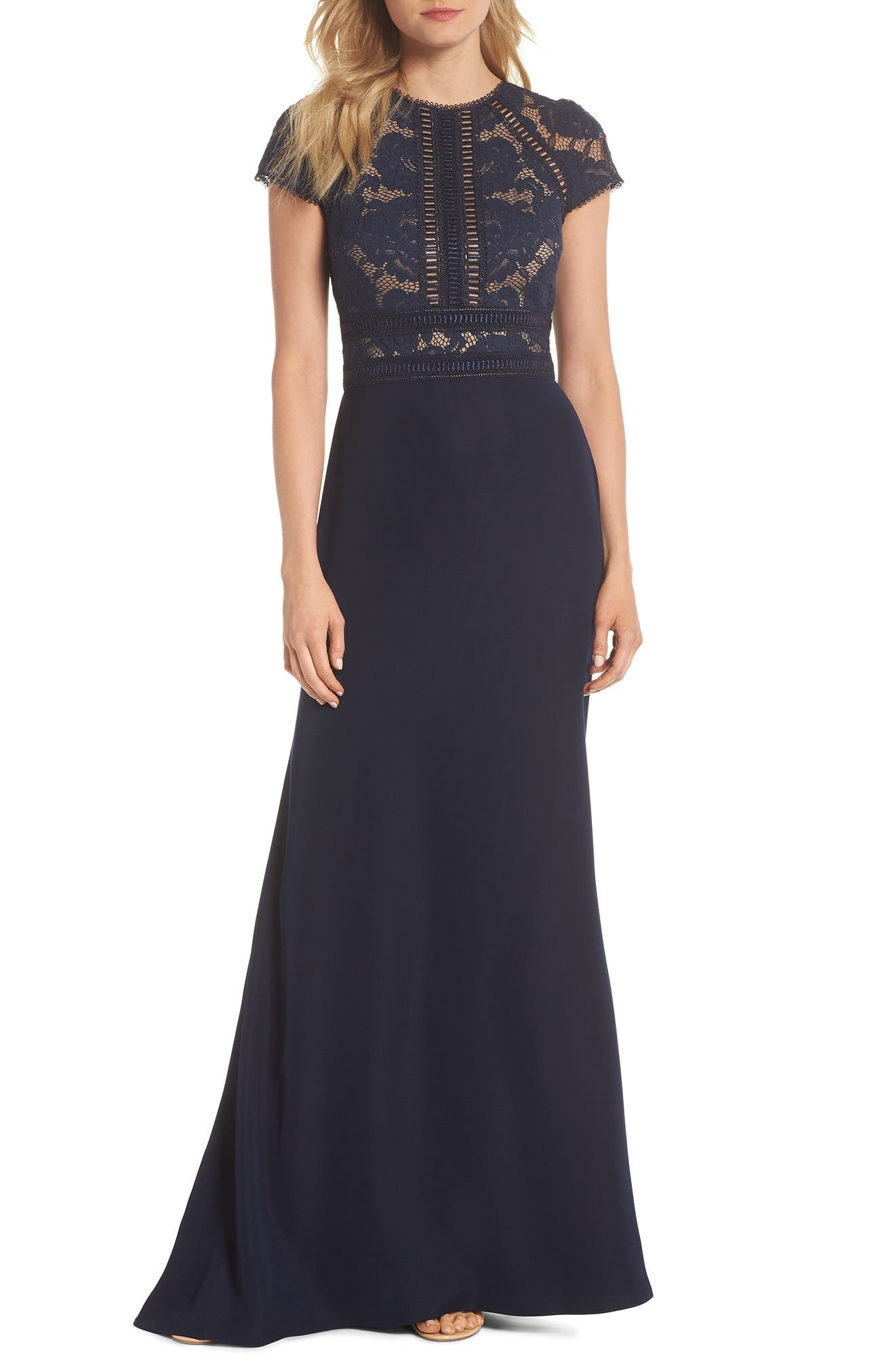 Lace & Crepe A-Line Gown,                             Main thumbnail 1, color,                             Navy/ Nude