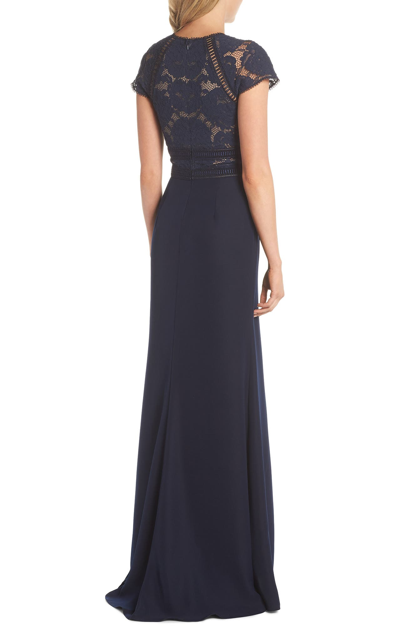 Lace & Crepe A-Line Gown,                             Alternate thumbnail 2, color,                             Navy/ Nude