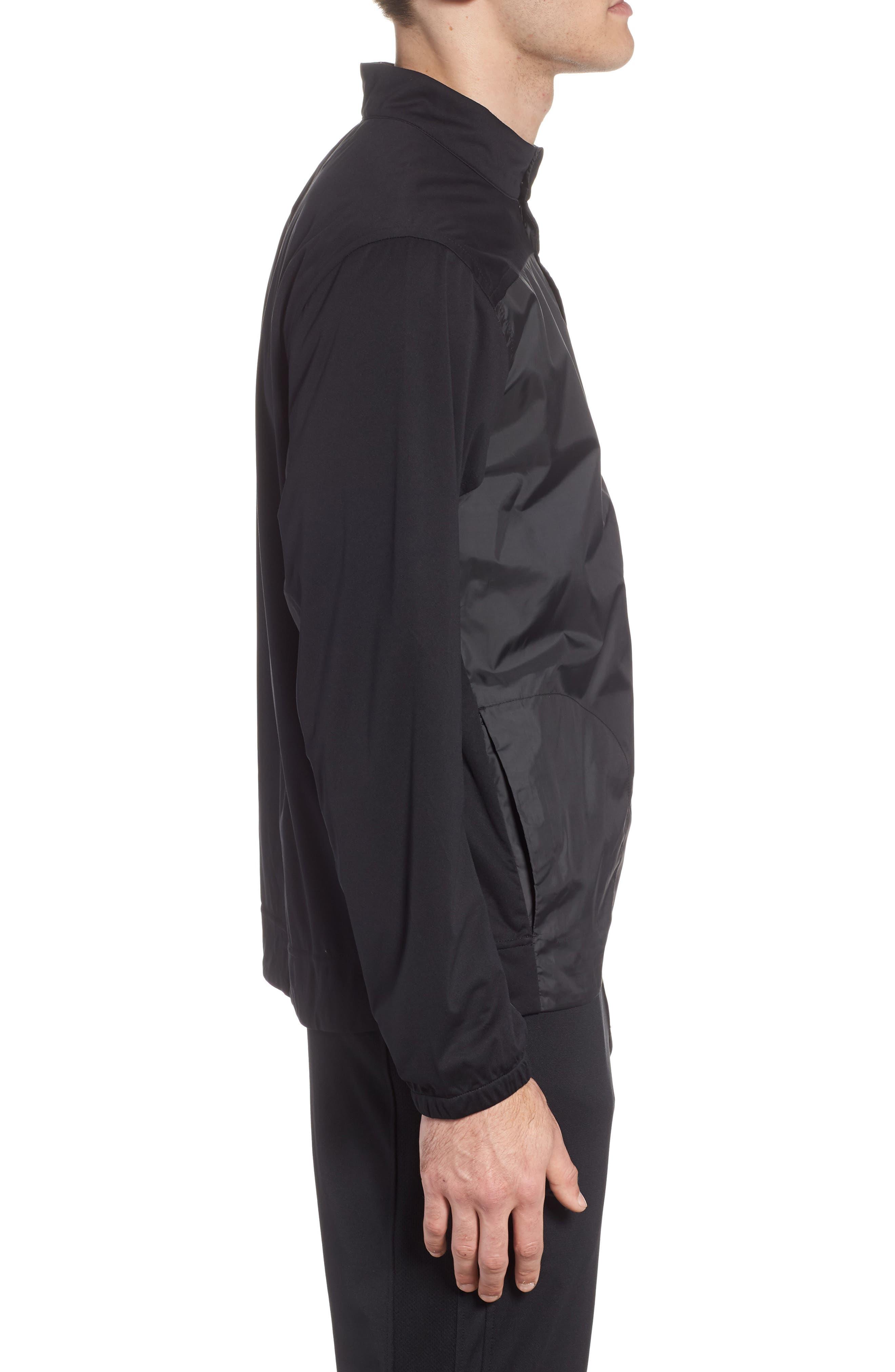 Shield Full Zip Golf Jacket,                             Alternate thumbnail 3, color,                             Black/ Silver