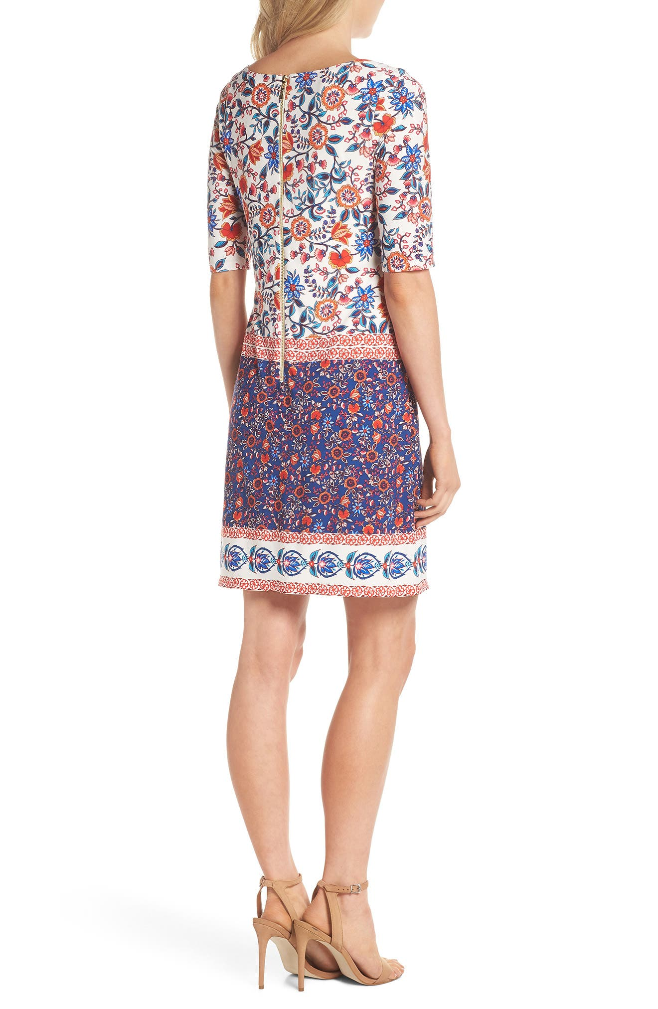 Printed Elbow Sleeve Shirt Dress,                             Alternate thumbnail 2, color,                             Navy/ Poppy