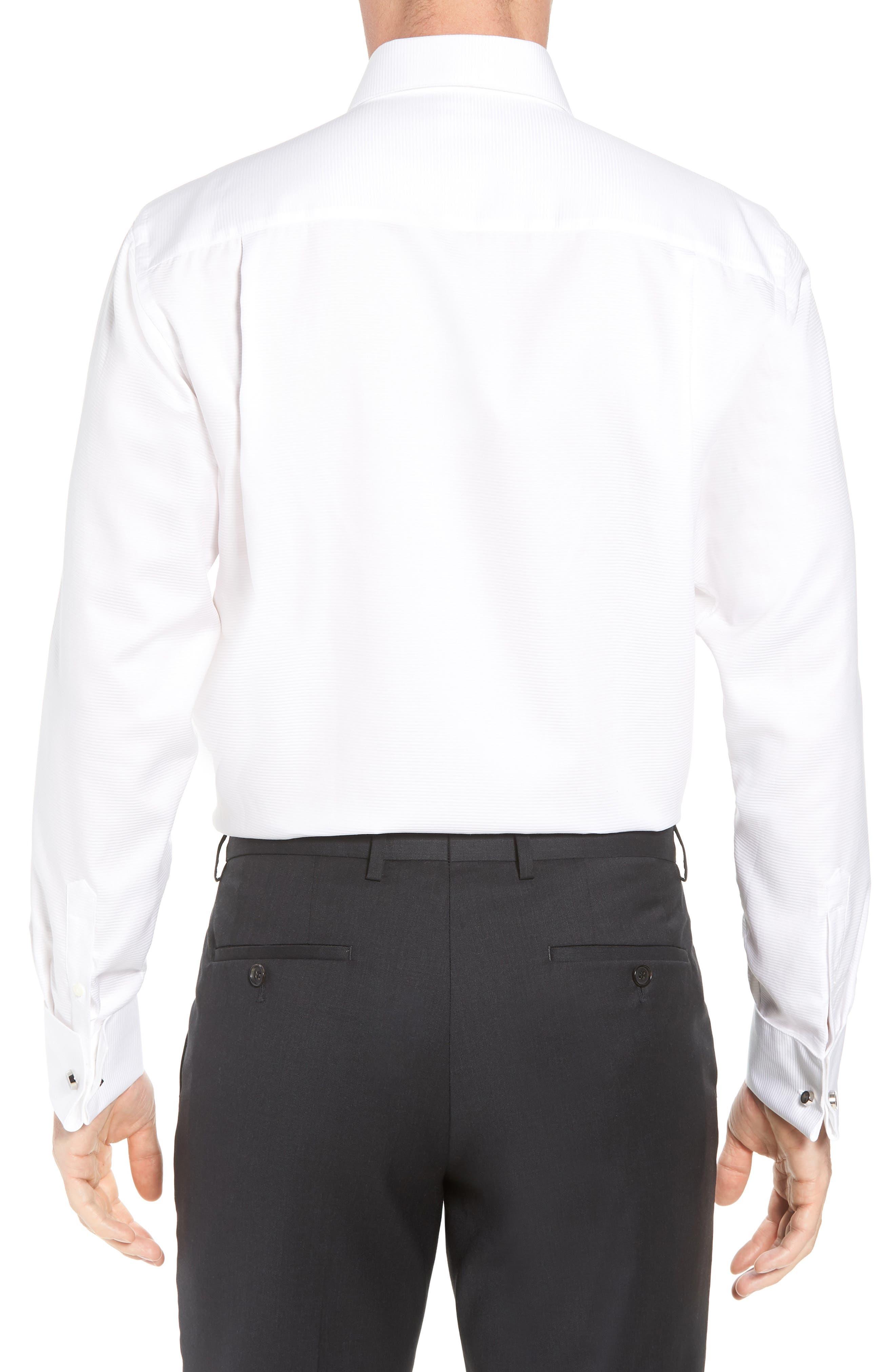 Horizontal Twill Regular Fit Tuxedo Shirt,                             Alternate thumbnail 3, color,                             White