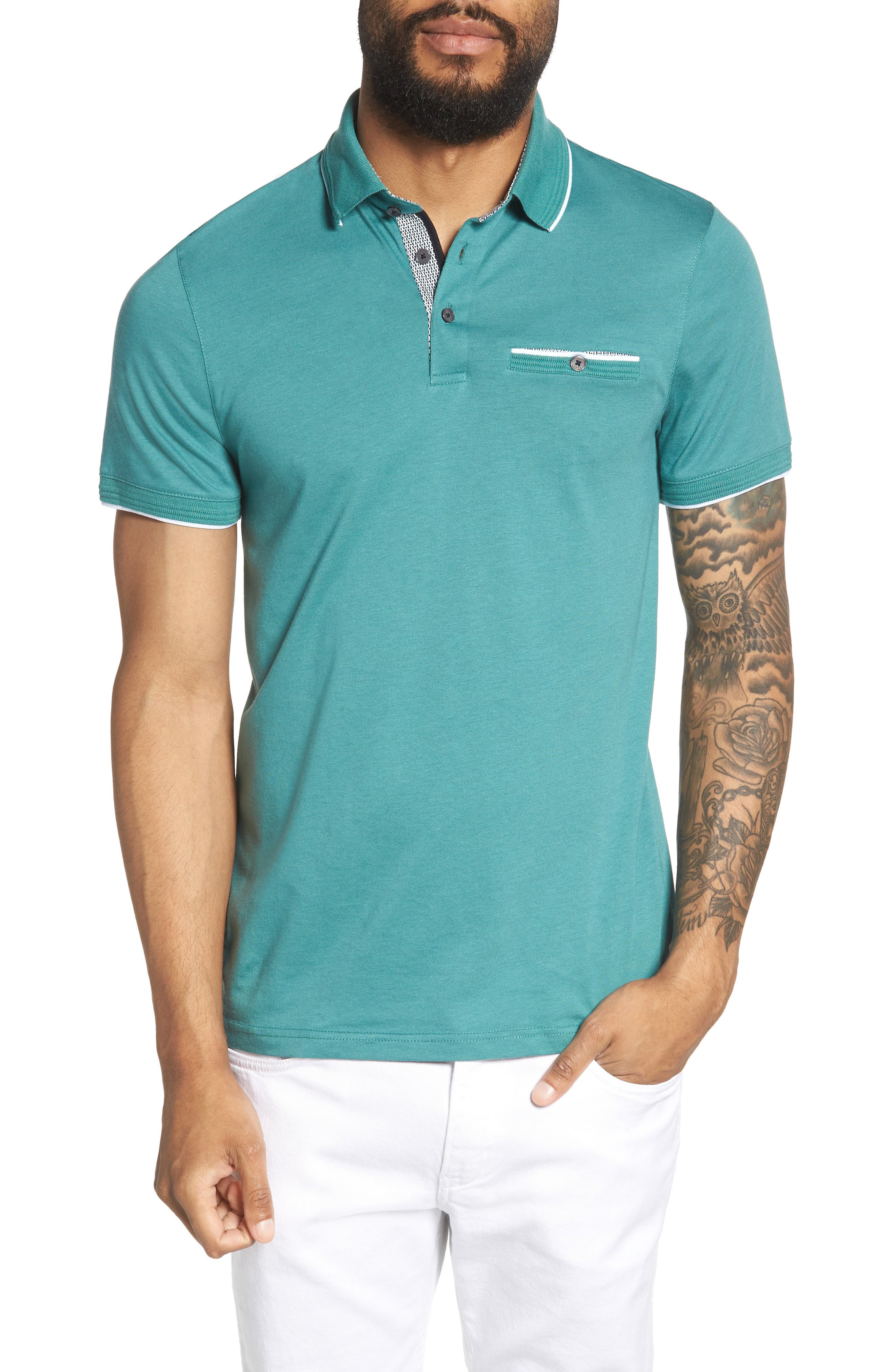 Derry Modern Slim Fit Polo,                             Main thumbnail 1, color,                             Green