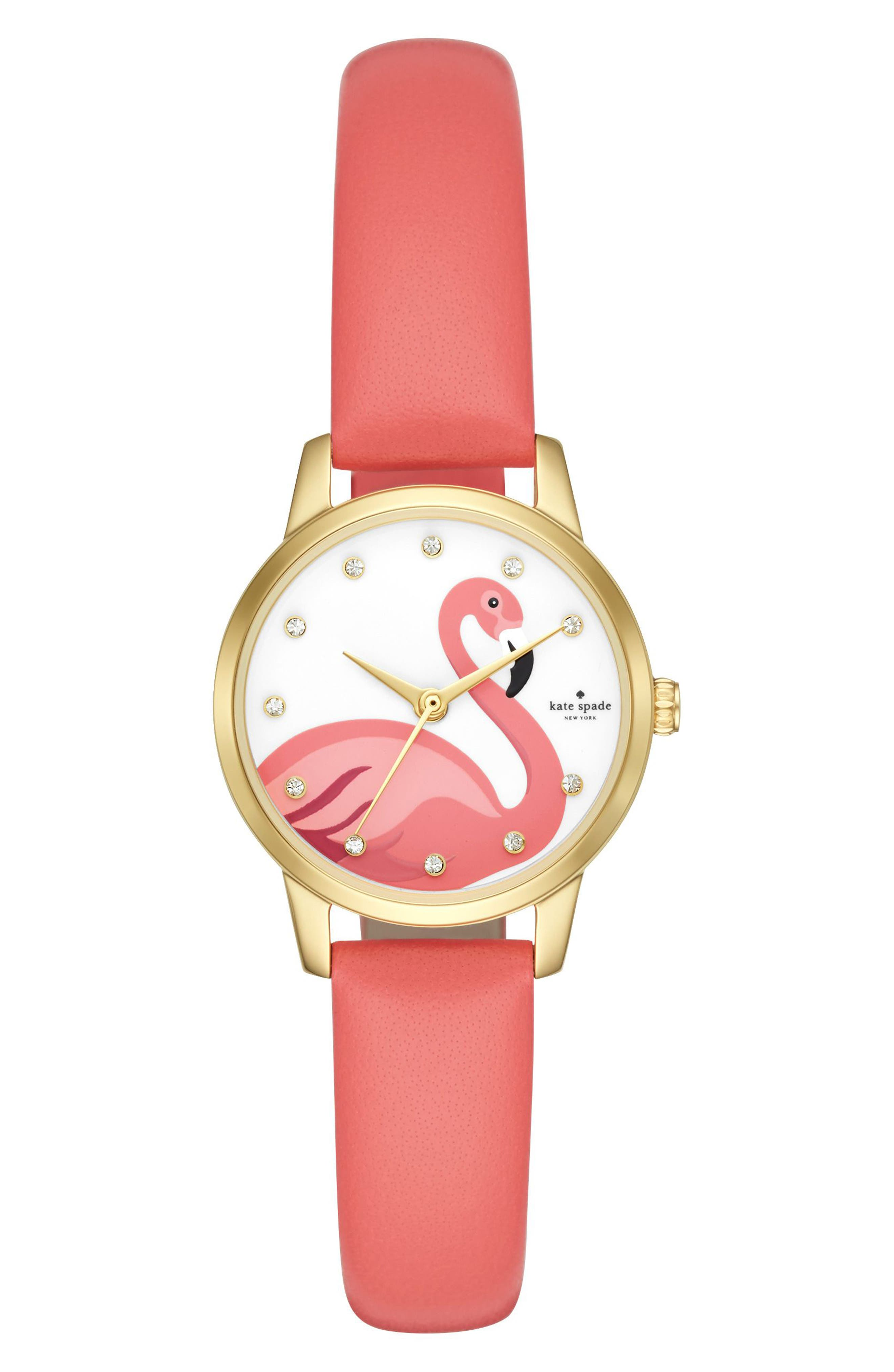 kate spade new york metro leather strap watch, 26mm