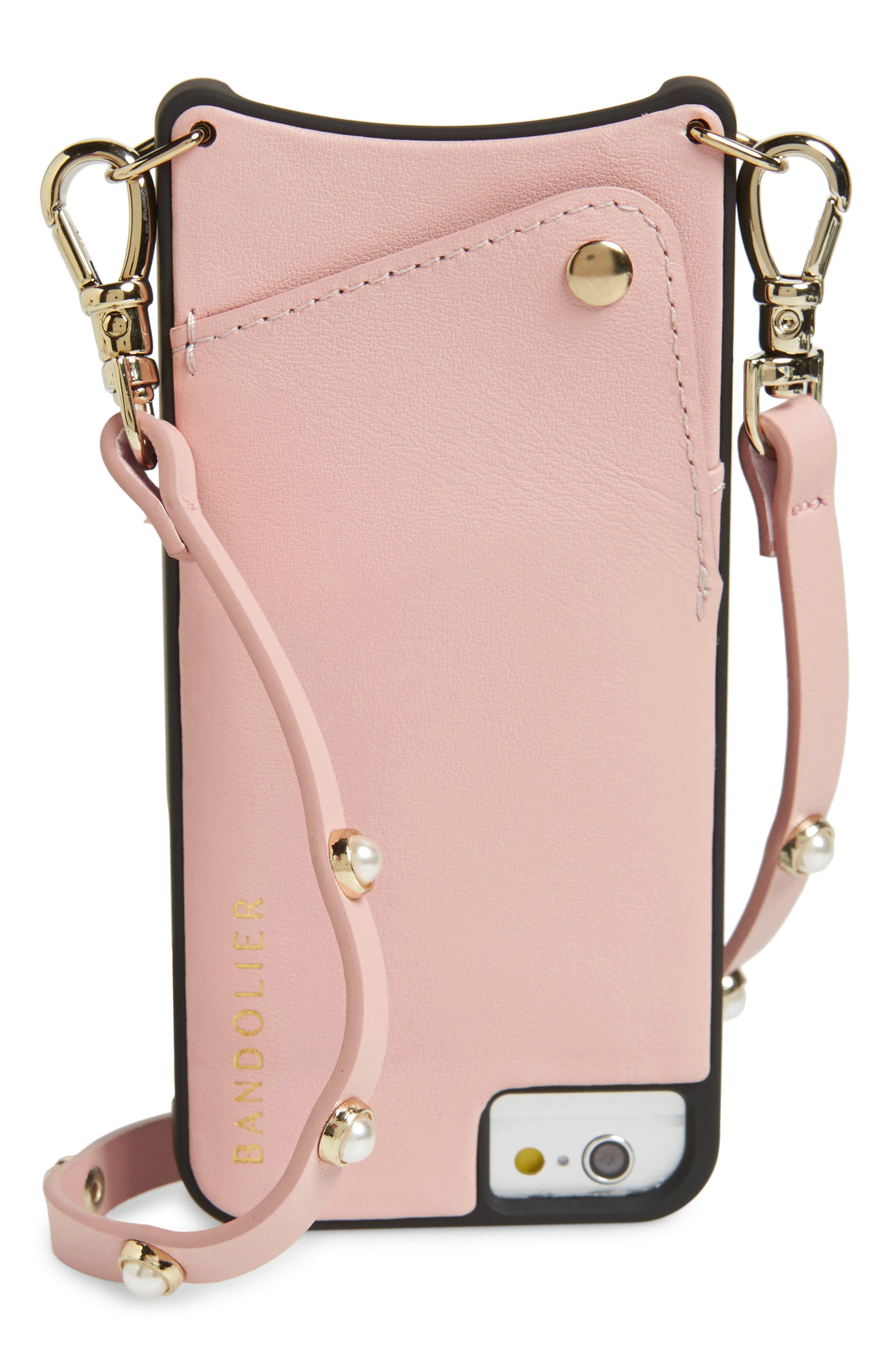 Claire Leather iPhone 7/8 & 7/8 Plus Crossbody Case,                             Main thumbnail 1, color,                             Pink/ Pearl