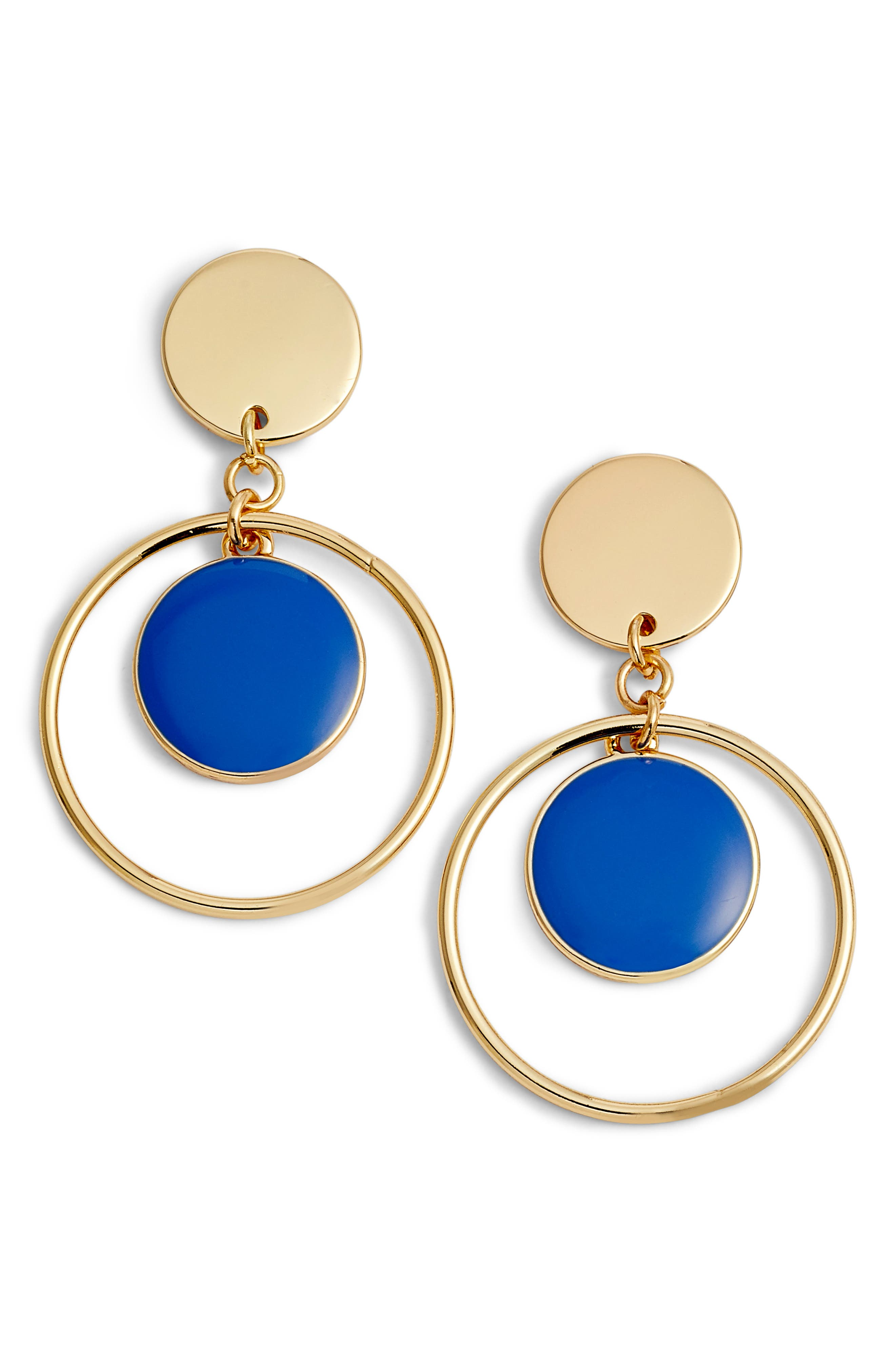 Double Disc with Hoop Drop Earrings,                             Main thumbnail 1, color,                             Blue- Gold