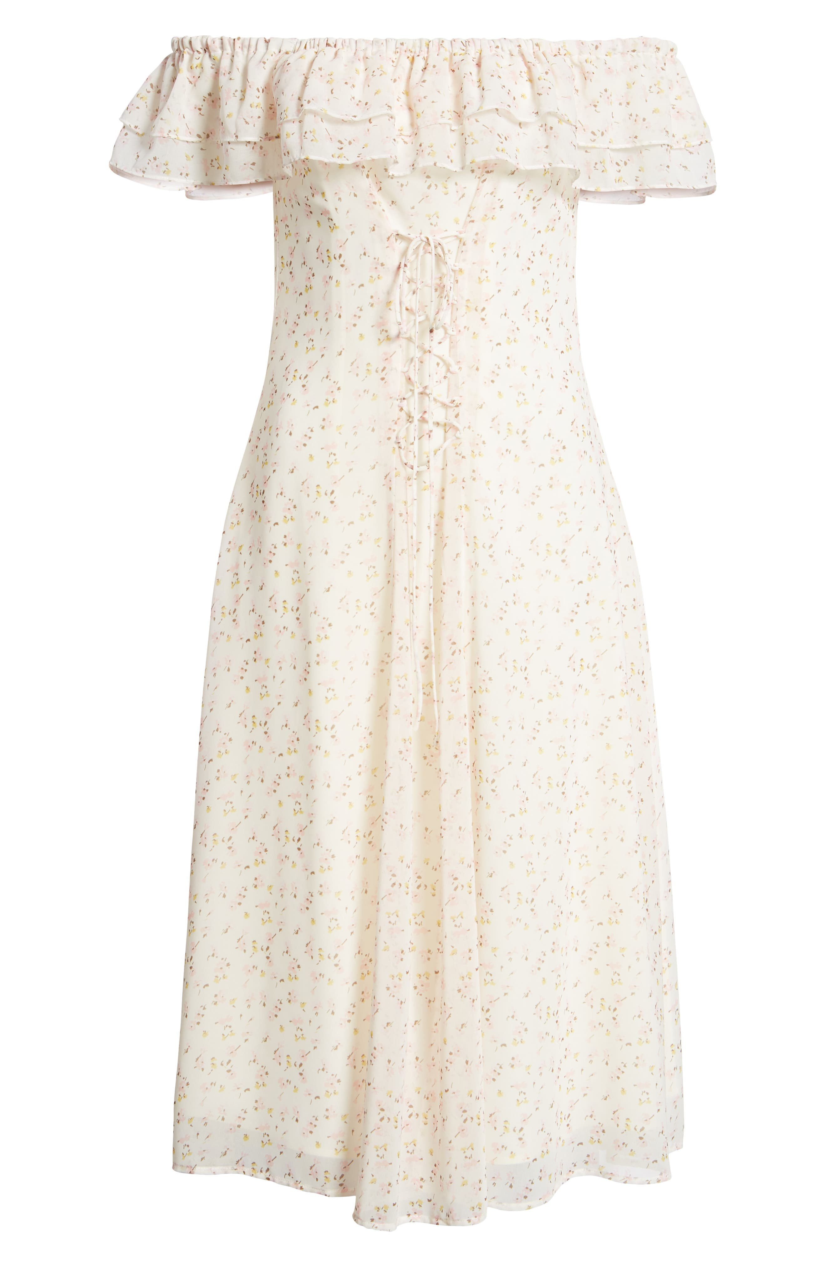 Florence Lace Off the Shoulder Midi Dress,                             Alternate thumbnail 8, color,                             Ivory Ditzy