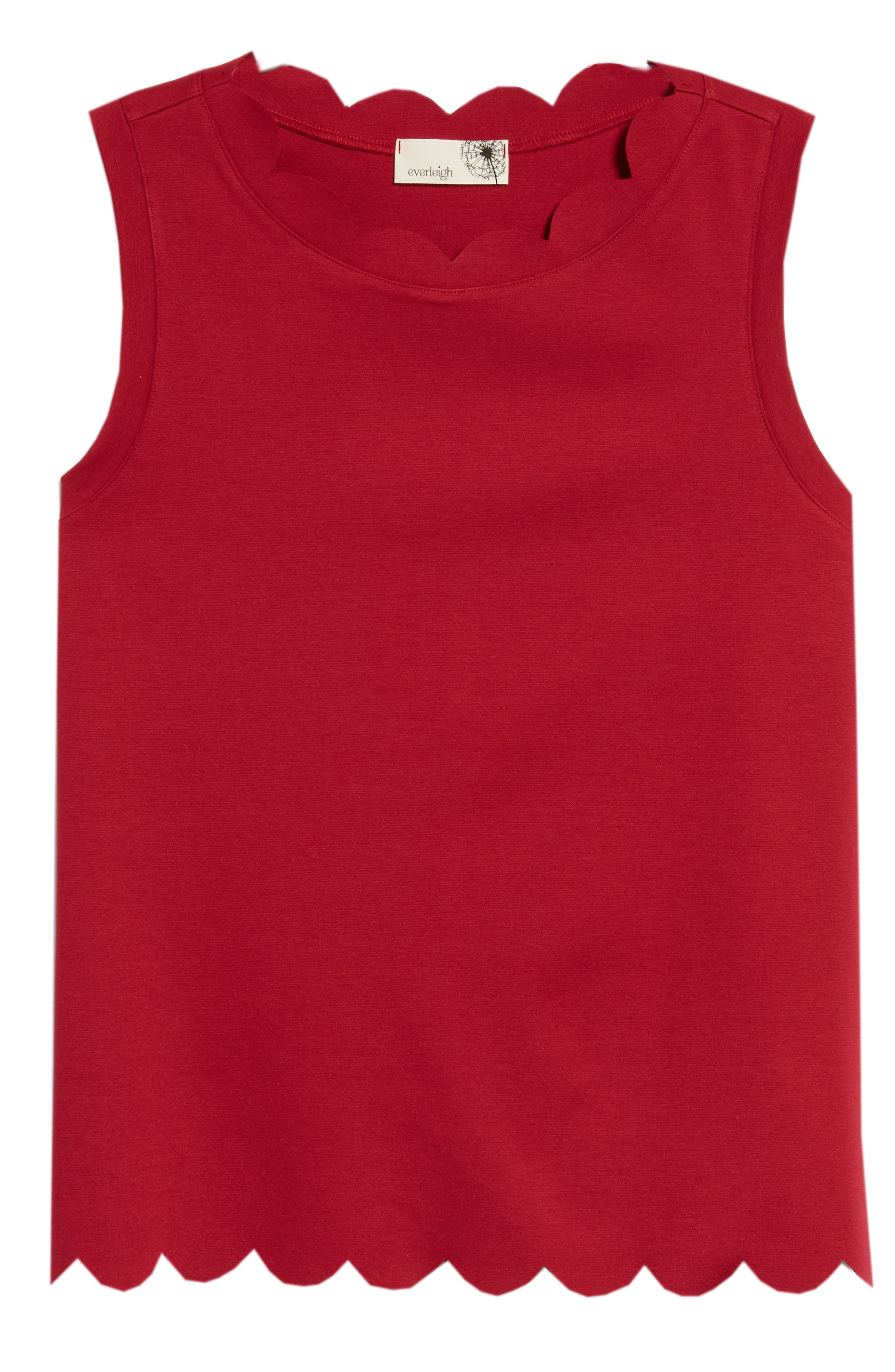 Scallop Edge Sleeveless Top,                             Alternate thumbnail 7, color,                             Red