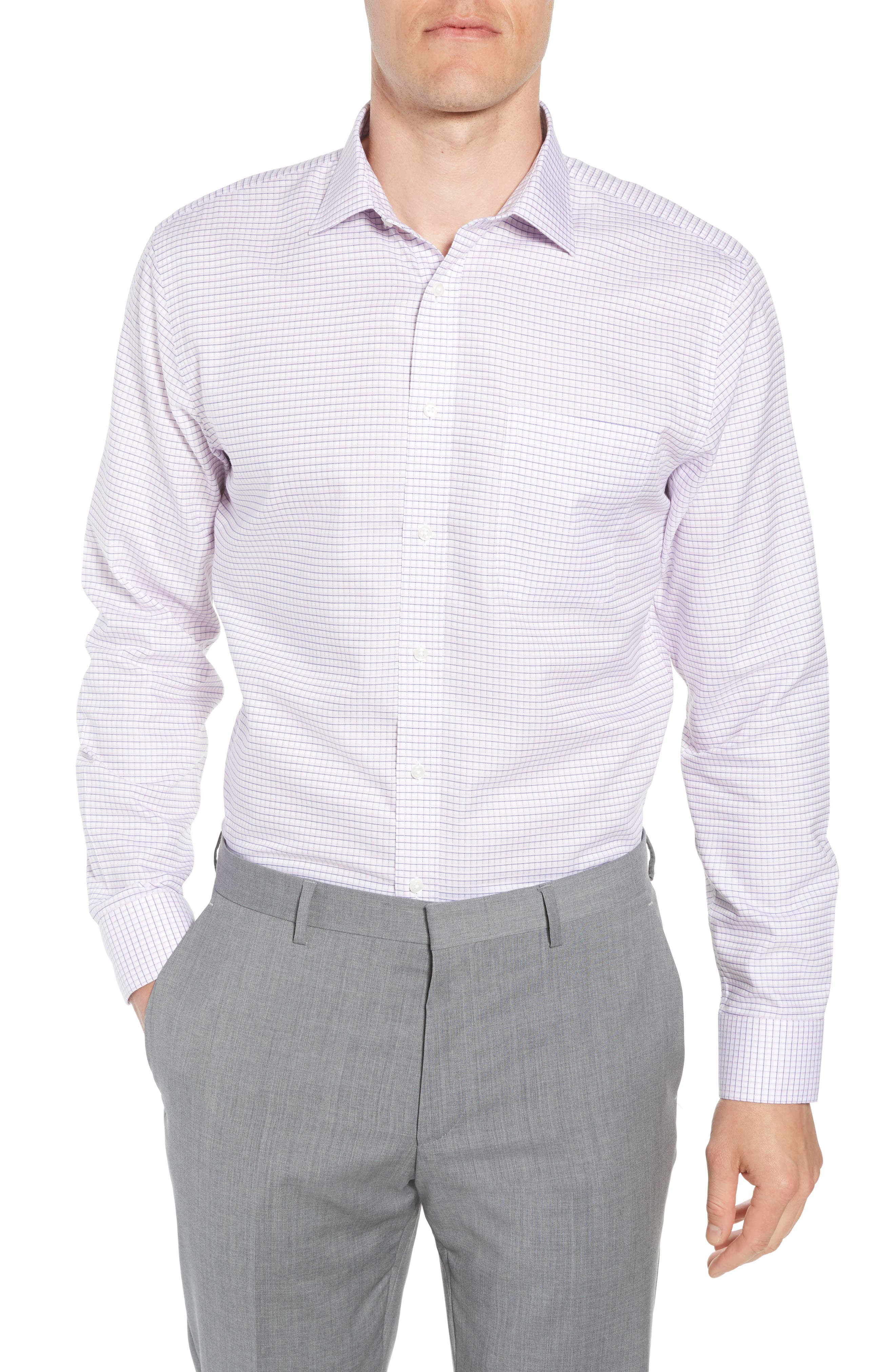 Smartcare<sup>™</sup> Trim Fit Check Sport Shirt,                             Main thumbnail 1, color,                             Pink Sweet