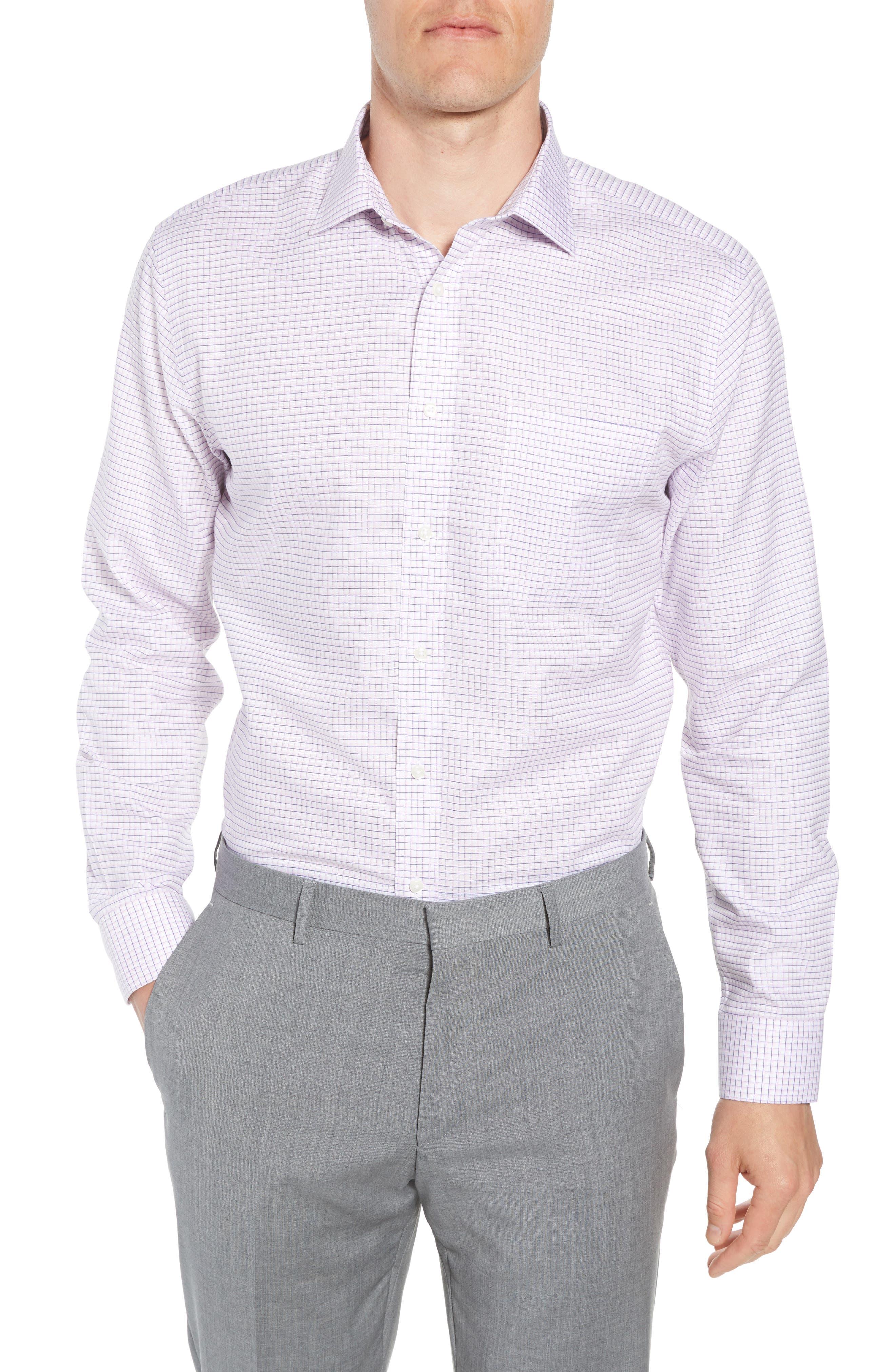 Smartcare<sup>™</sup> Trim Fit Check Sport Shirt,                         Main,                         color, Pink Sweet