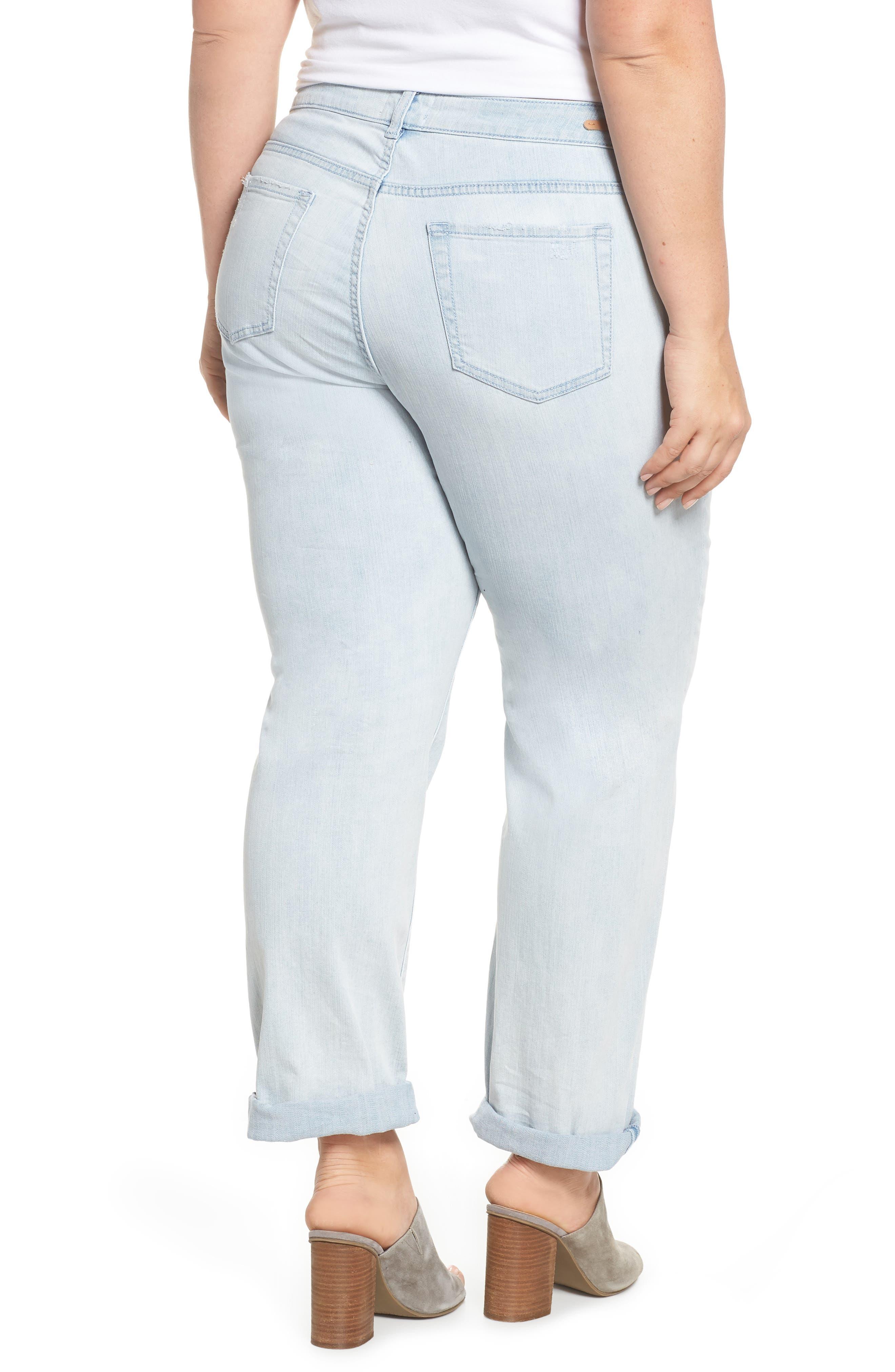 Distressed Boyfriend Jeans,                             Alternate thumbnail 2, color,                             Platinum Light Wash