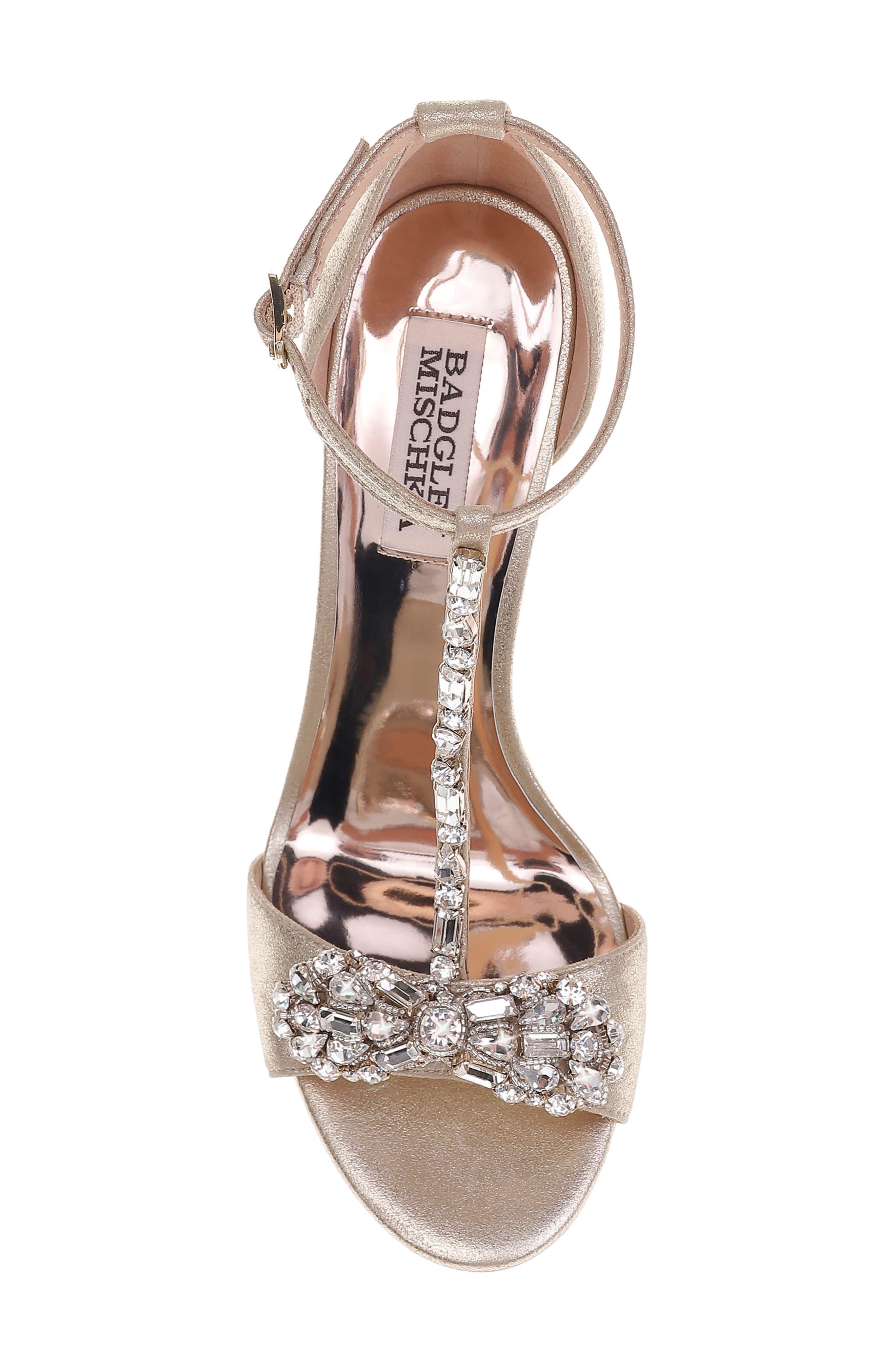 Pascale T-Strap Sandal,                             Alternate thumbnail 5, color,                             Platinum Metallic Suede