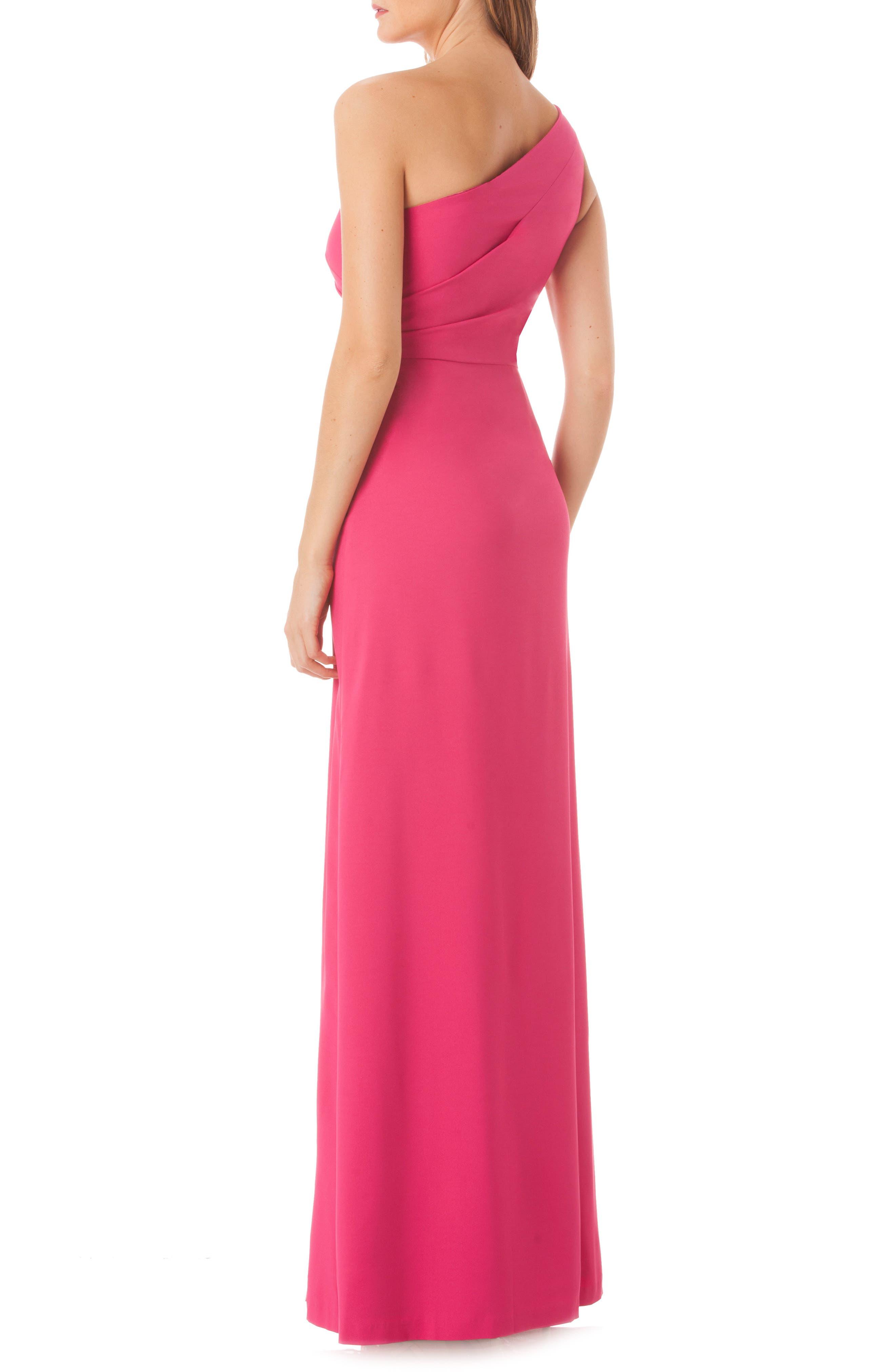 One-Shoulder Gown,                             Alternate thumbnail 2, color,                             Lipstick