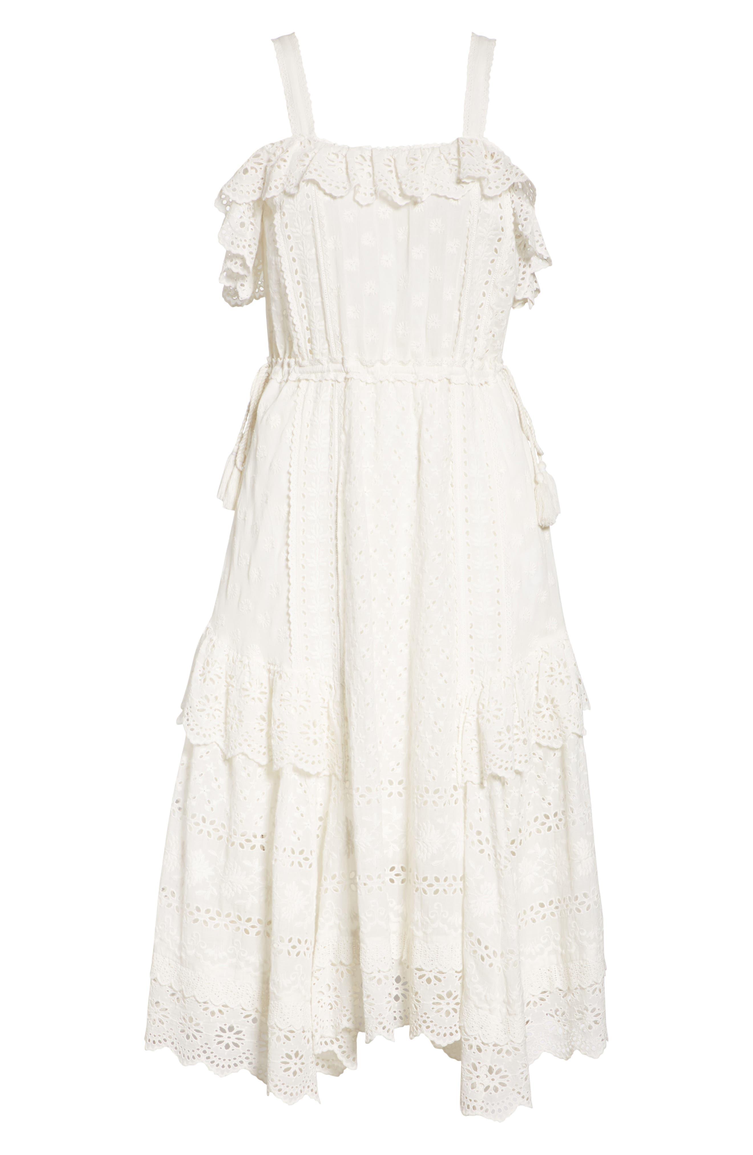 Edwina Eyelet Dress,                             Alternate thumbnail 6, color,                             Blanc