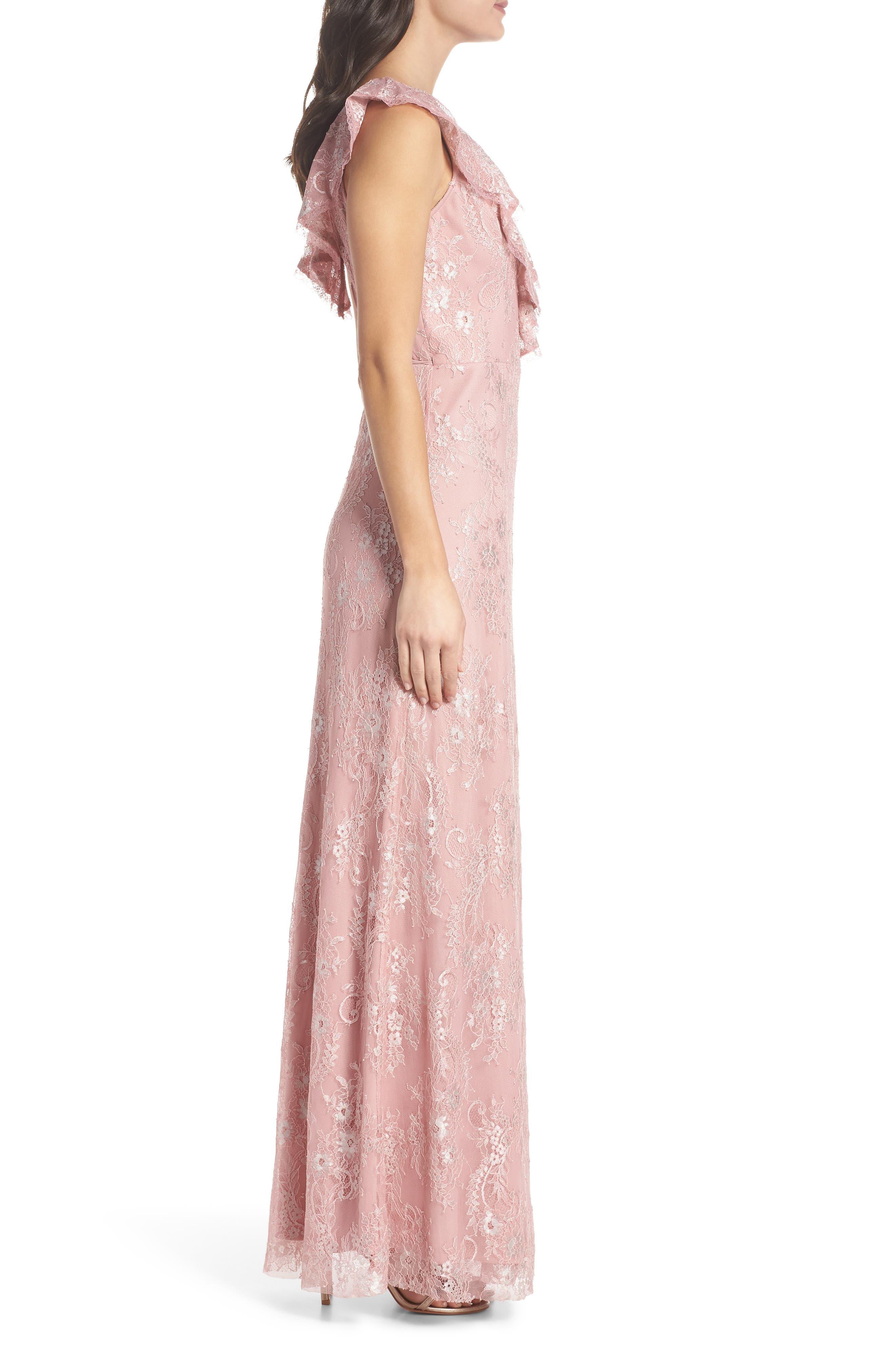 Rio Ruffle Lace Wrap Gown,                             Alternate thumbnail 3, color,                             Calypso