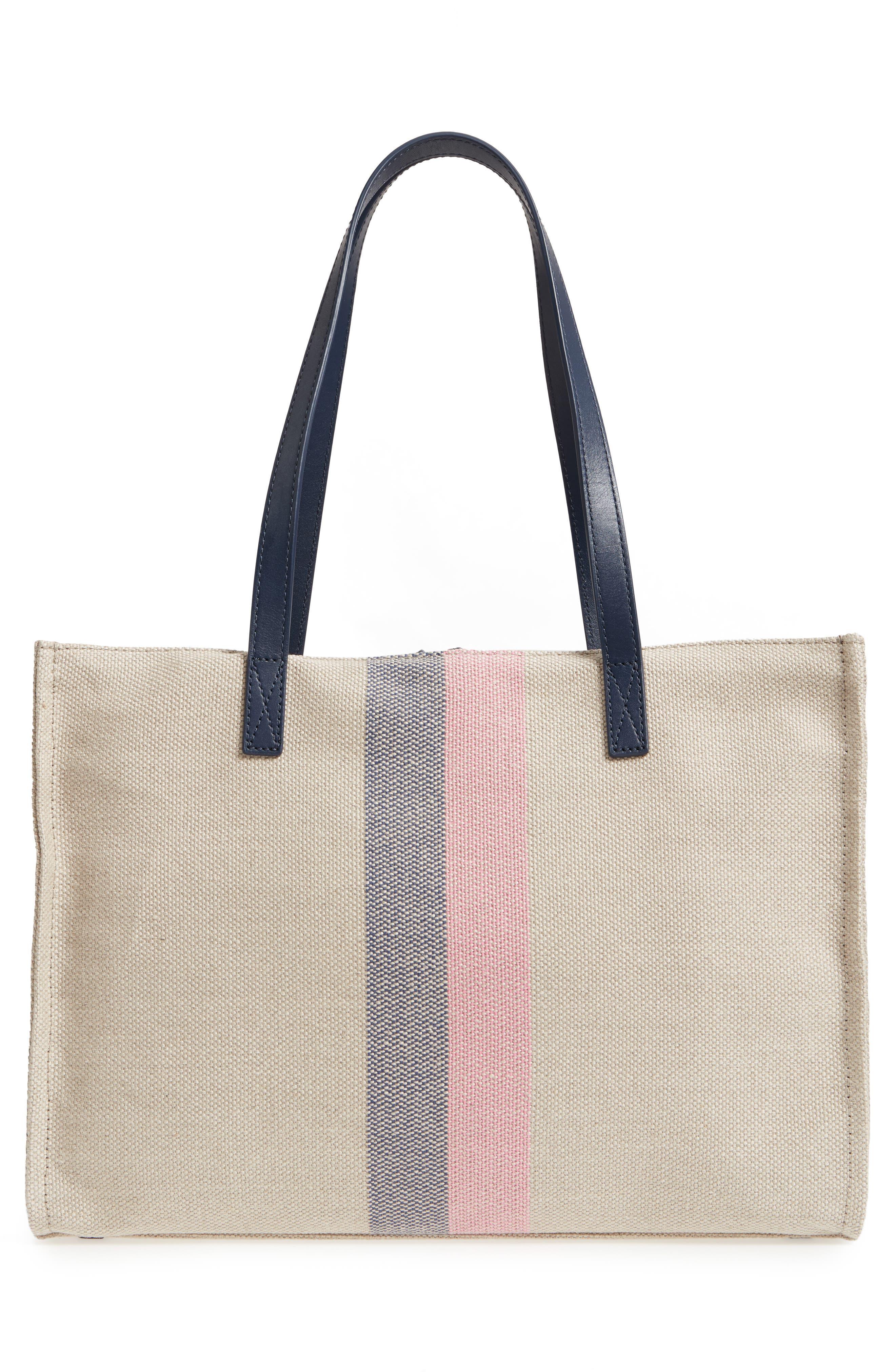 washington square - mega sam canvas satchel,                             Alternate thumbnail 3, color,                             Natural Linen/Bubble Gum/Navy