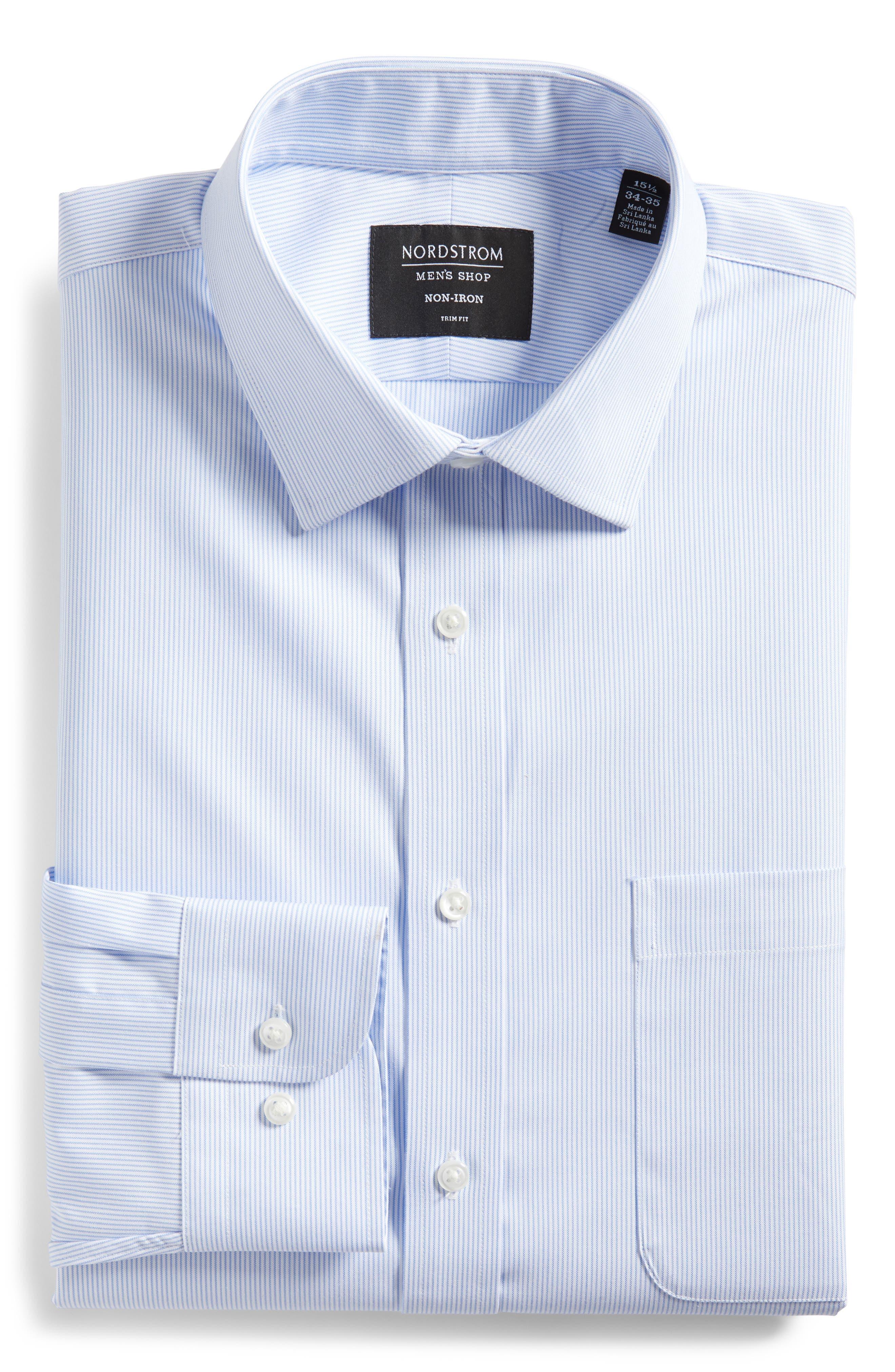 Trim Fit Non-Iron Stripe Dress Shirt,                             Alternate thumbnail 6, color,                             Blue Vista