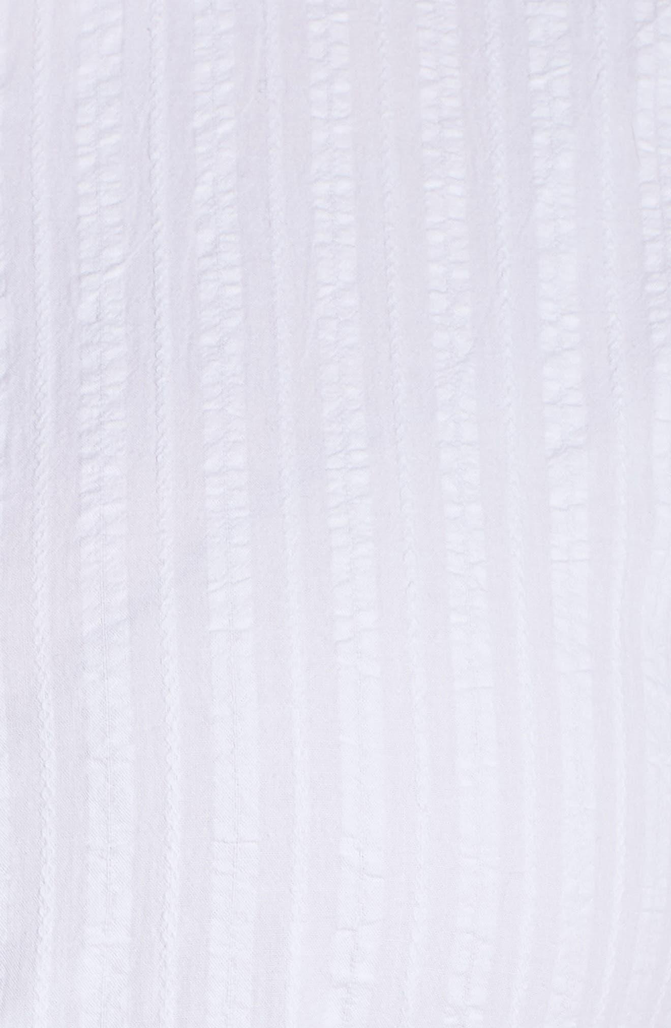 Shirred Shirt Dress,                             Alternate thumbnail 6, color,                             White