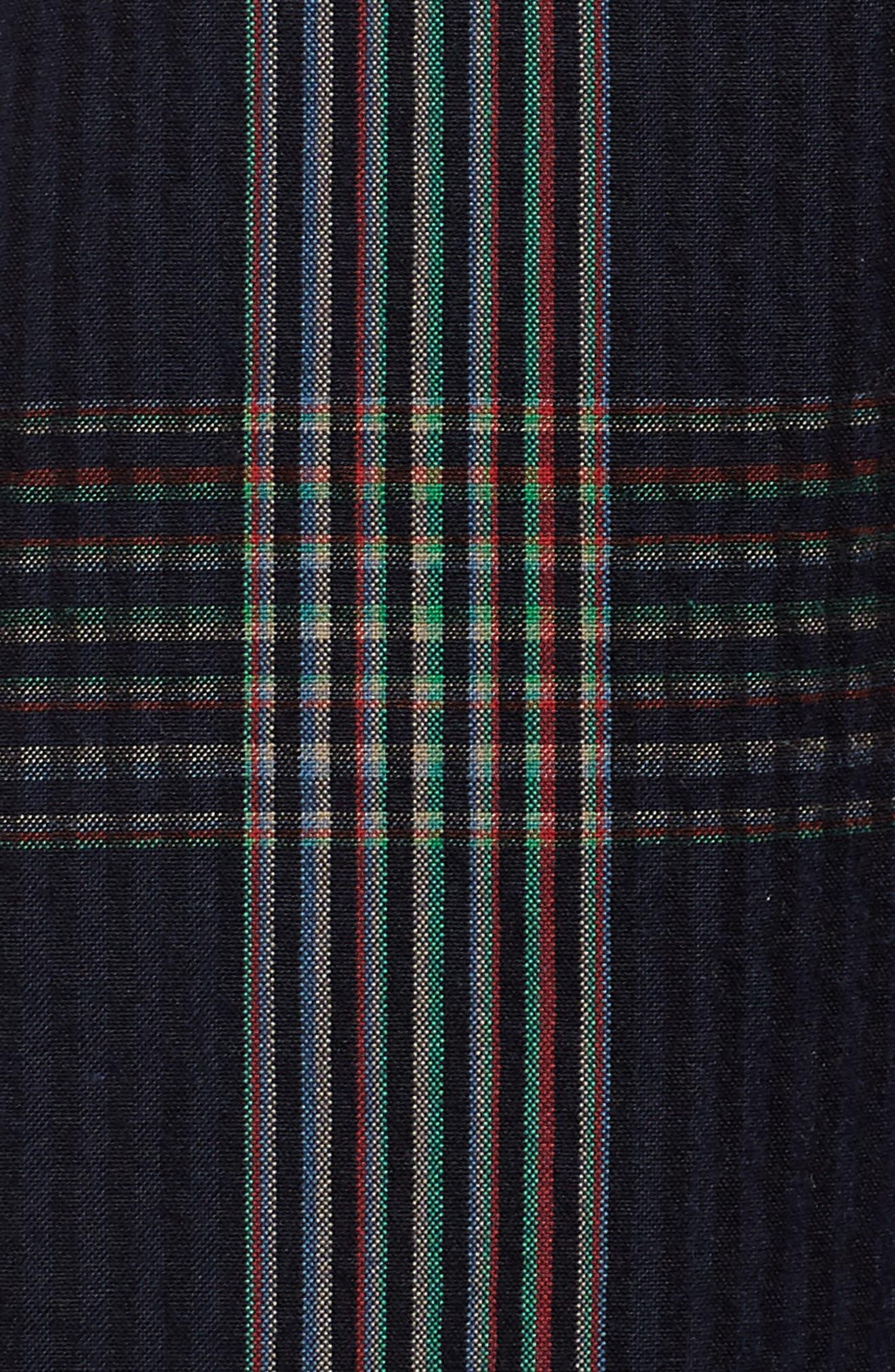 Plaid Midi Shirtdress,                             Alternate thumbnail 5, color,                             Navy Multi Plaid