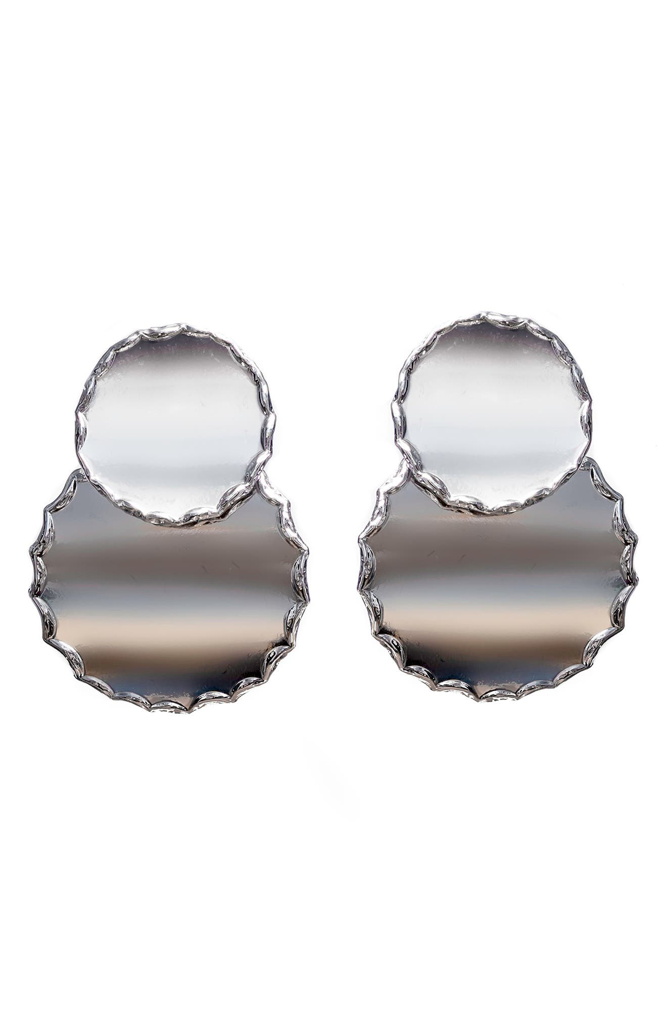 Round Raw Edge Statement Earrings,                         Main,                         color, Silver