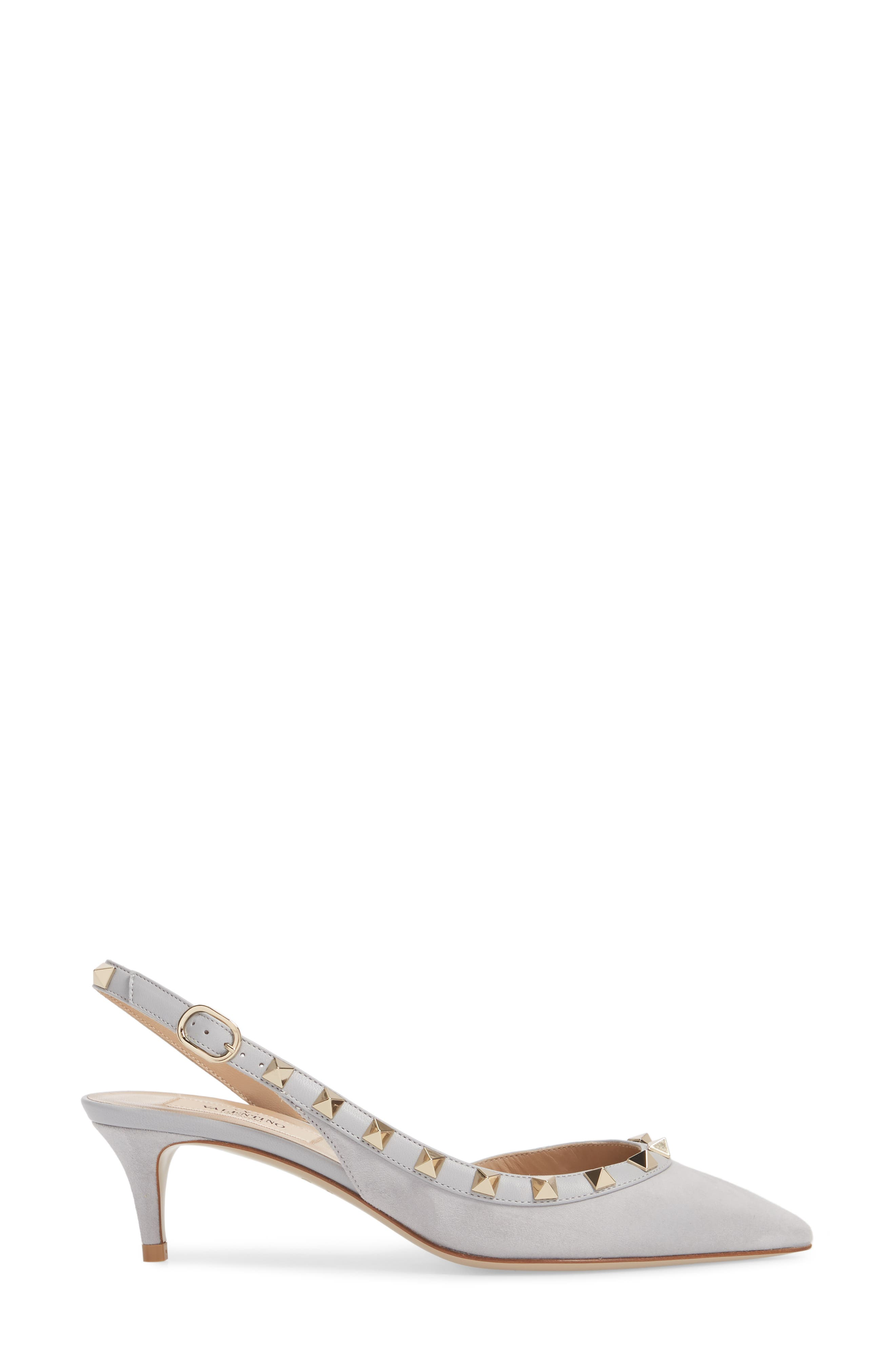 Rockstud Slingback Pump,                             Alternate thumbnail 3, color,                             Pastel Grey Suede