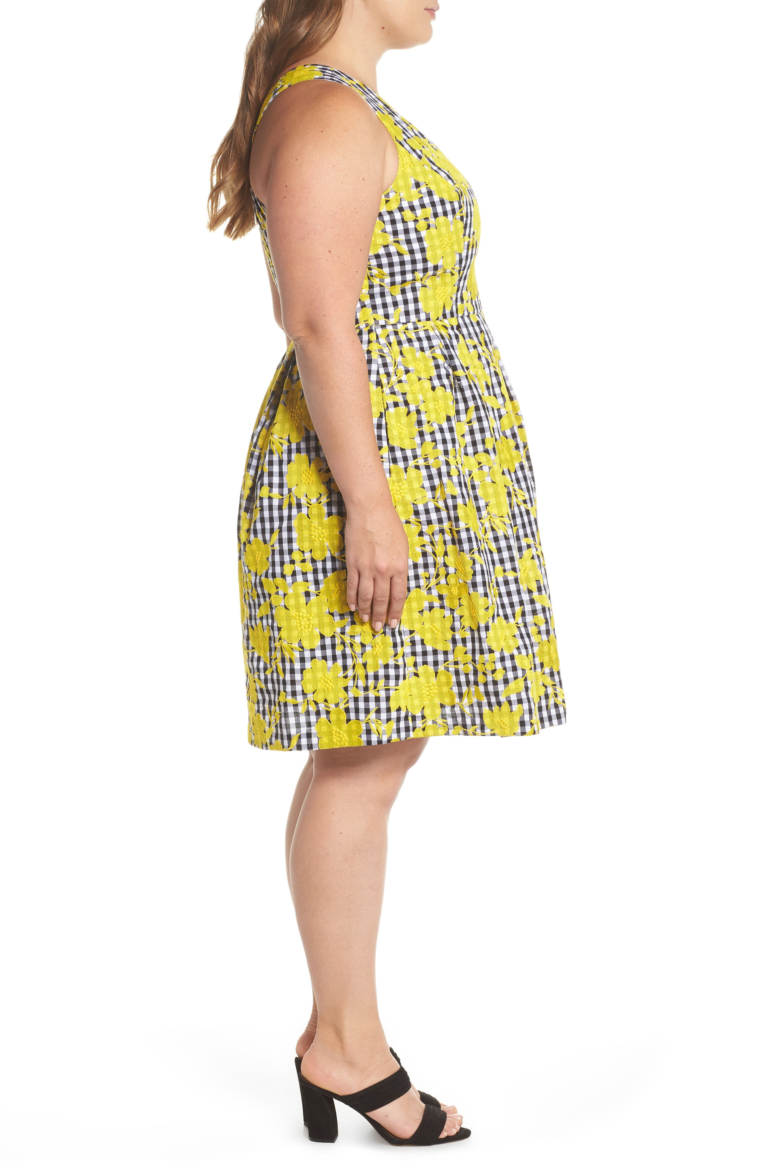 Embroidered Gingham Fit & Flare Dress,                             Alternate thumbnail 3, color,                             Yellow- Black Gingham